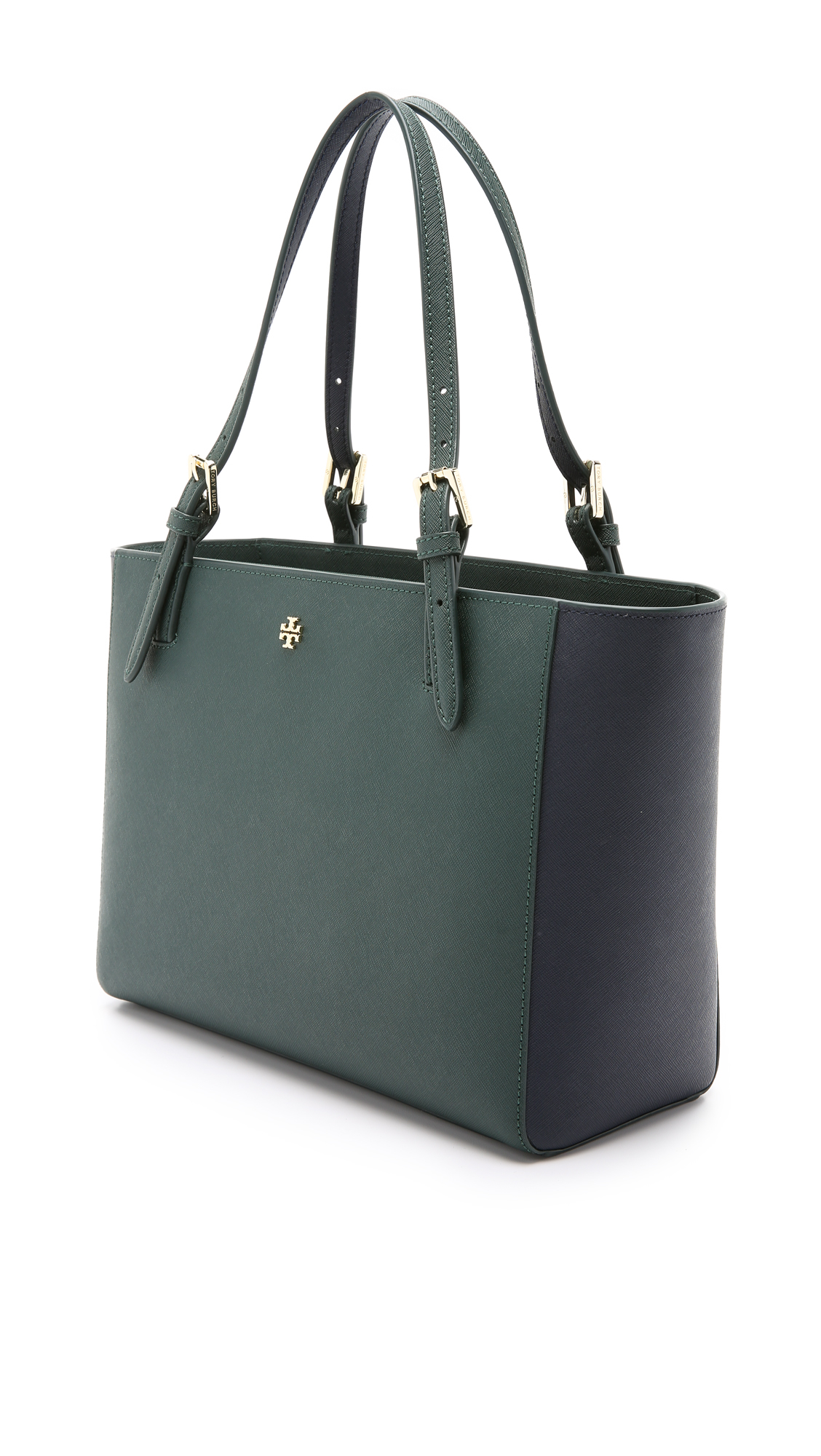 525d050677cf Lyst - Tory Burch York Small Buckle Tote - Jitney Green tory Navy in ...