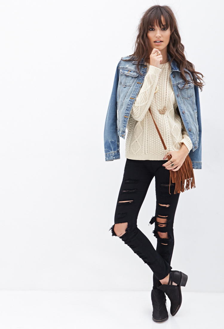 Forever 21 Slouchy Cable Knit Sweater in Natural | Lyst