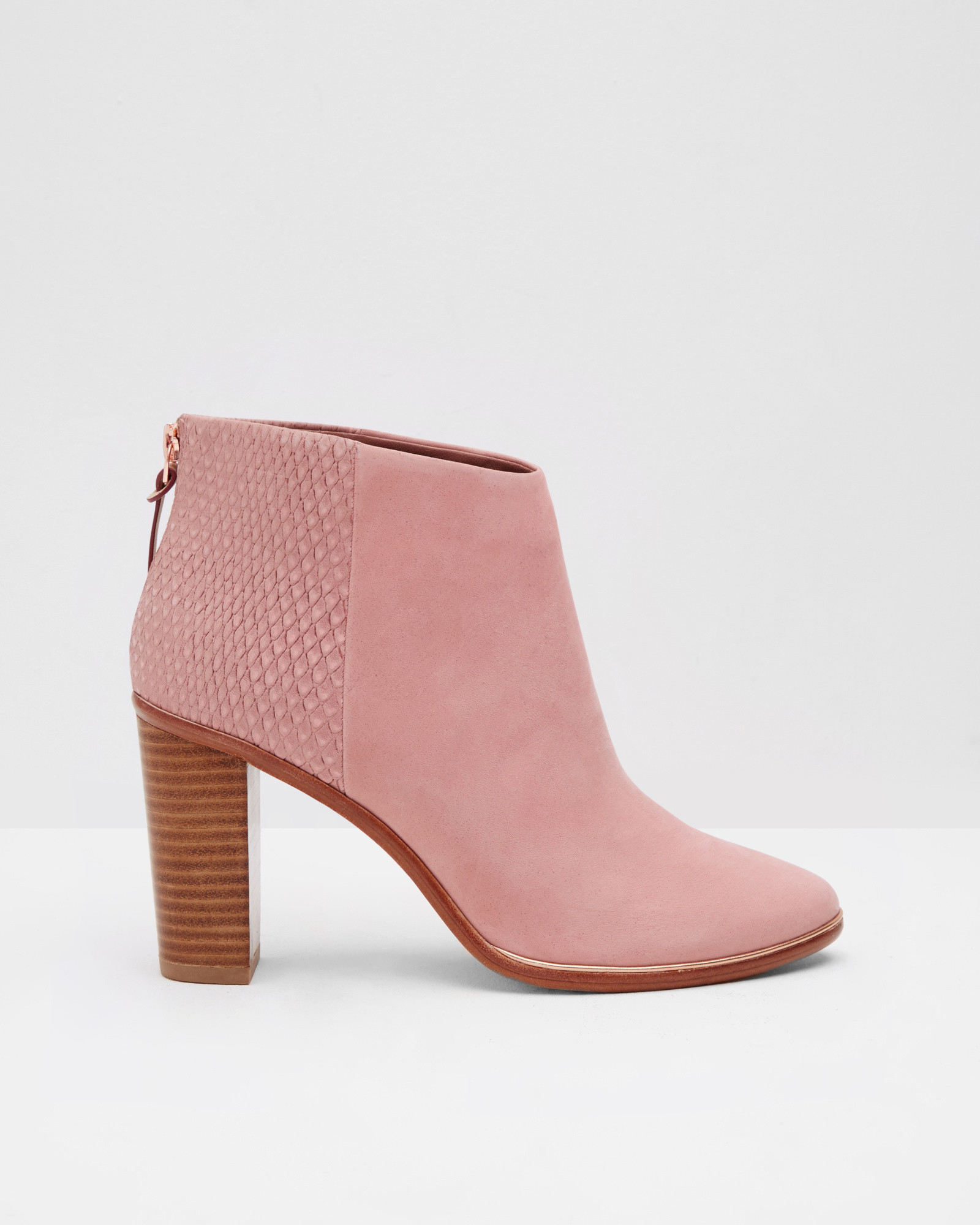 ted baker textured leather ankle boots in pink lyst