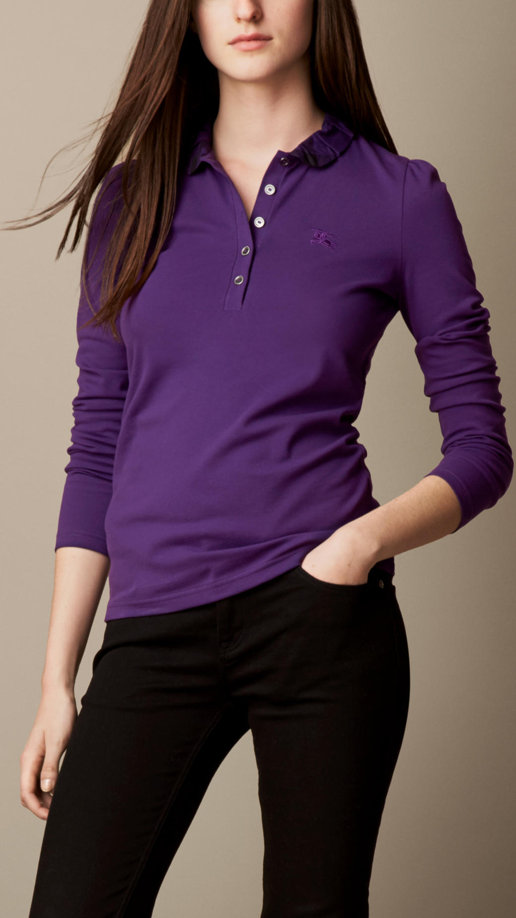Burberry Long Sleeve Check Collar Polo Shirt In Purple Lyst