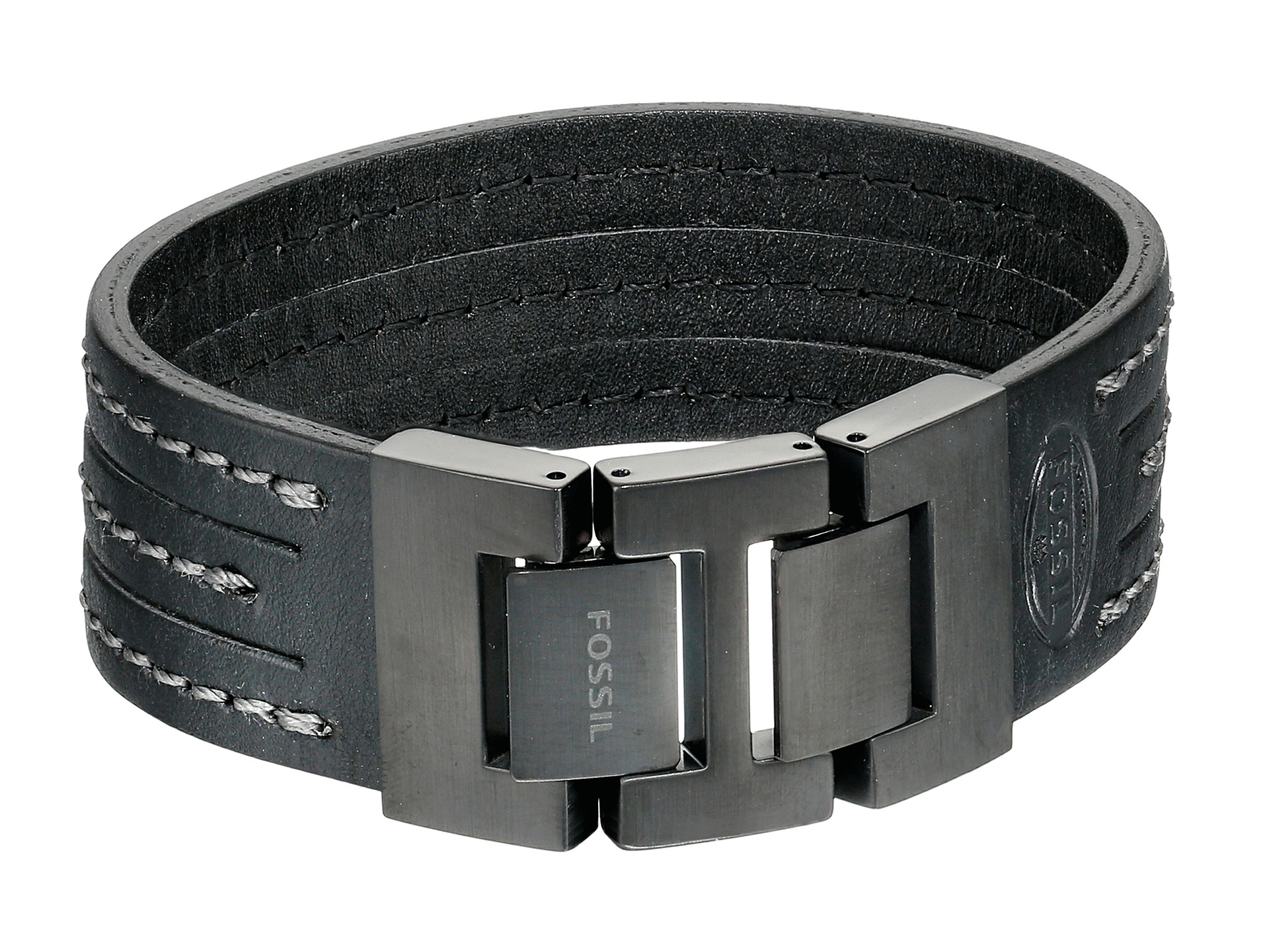Lyst Fossil Multi Stand Leather Bracelet In Black
