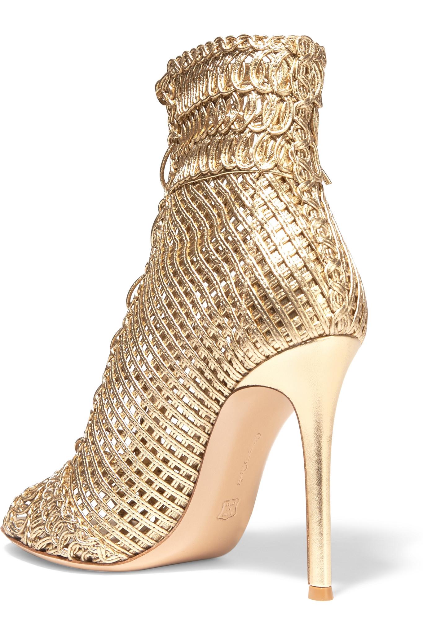 Gianvito Rossi Metallic Woven Sandals sale big discount cheapest price for sale FHOG3V0E13