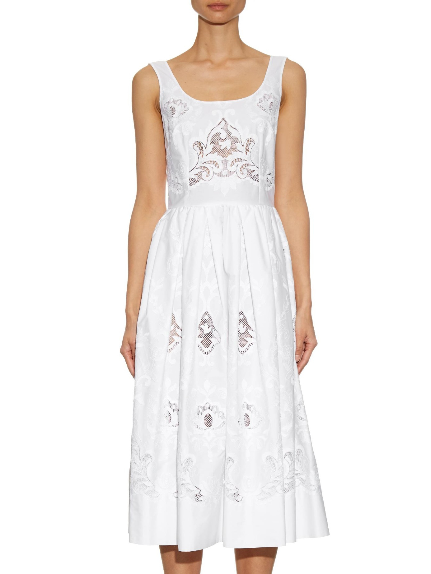 Lyst dolce gabbana macramé lace embroidered midi dress