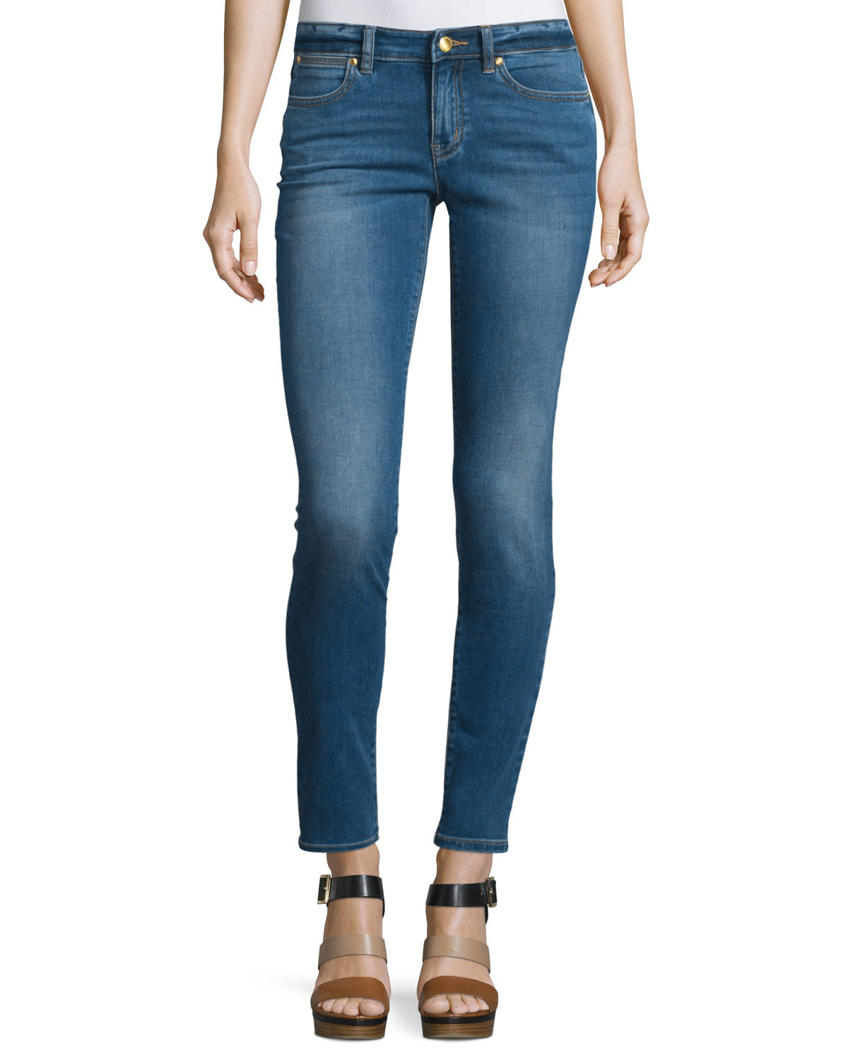 michael michael kors izzy low rise skinny jeans in blue lyst. Black Bedroom Furniture Sets. Home Design Ideas