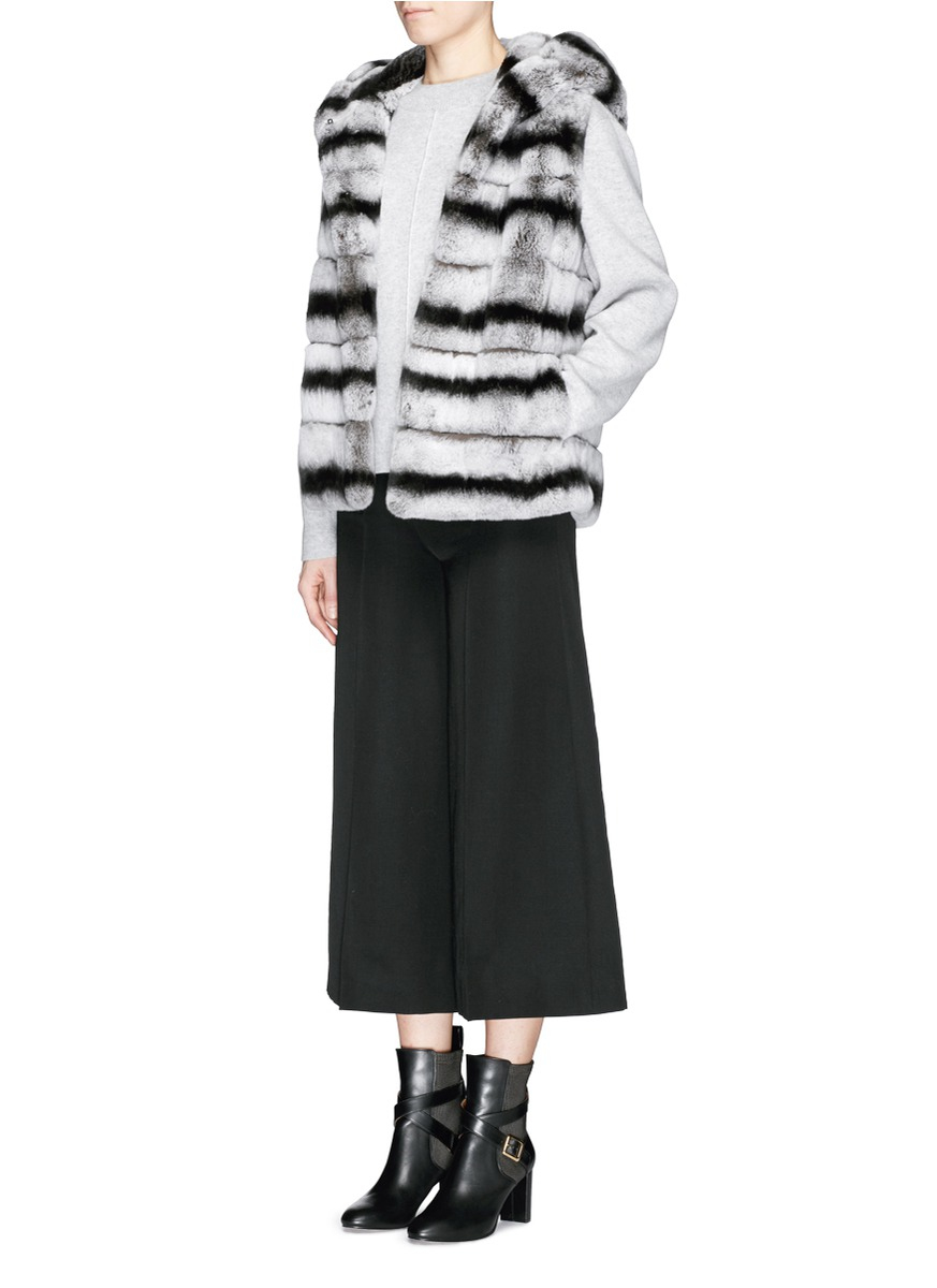Yves Salomon Stripe Rabbit Fur Hood Gilet Lyst