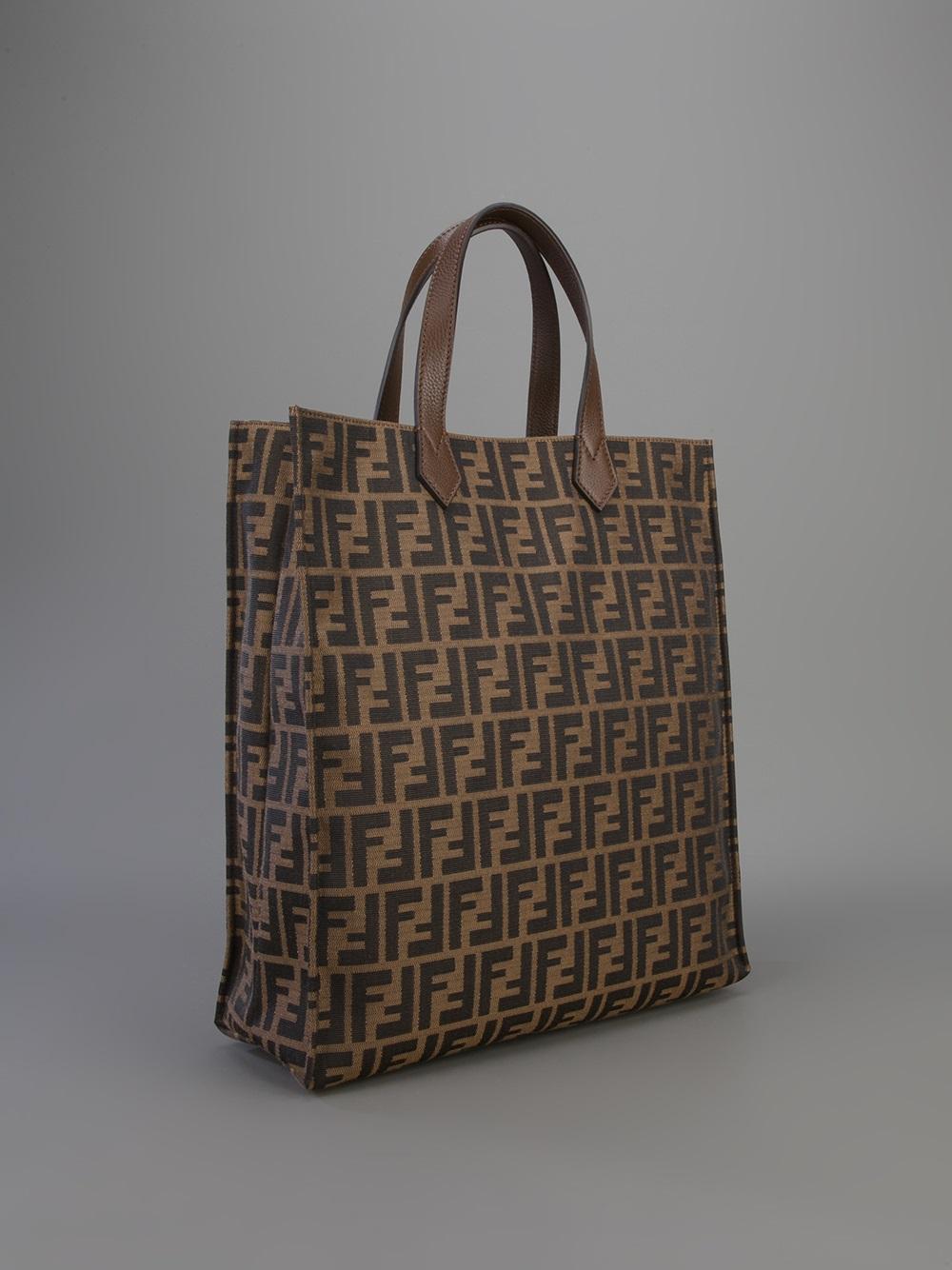 5df556b24079 ... spain lyst fendi zucca shopper tote in brown 14b88 c2bbd