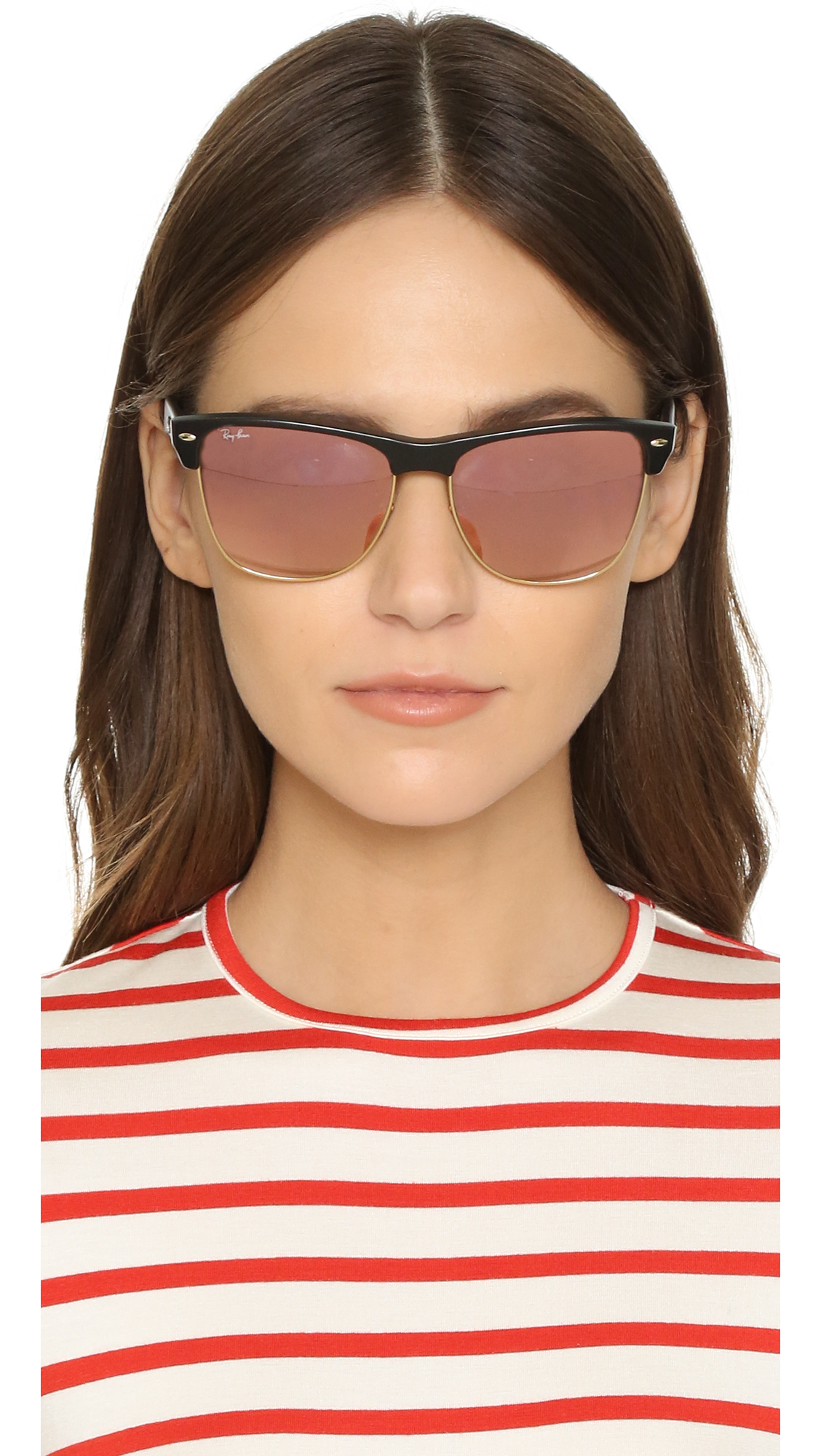3b01ff29af Lyst - Ray-Ban Oversized Mirrored Clubmaster Sunglasses in Black