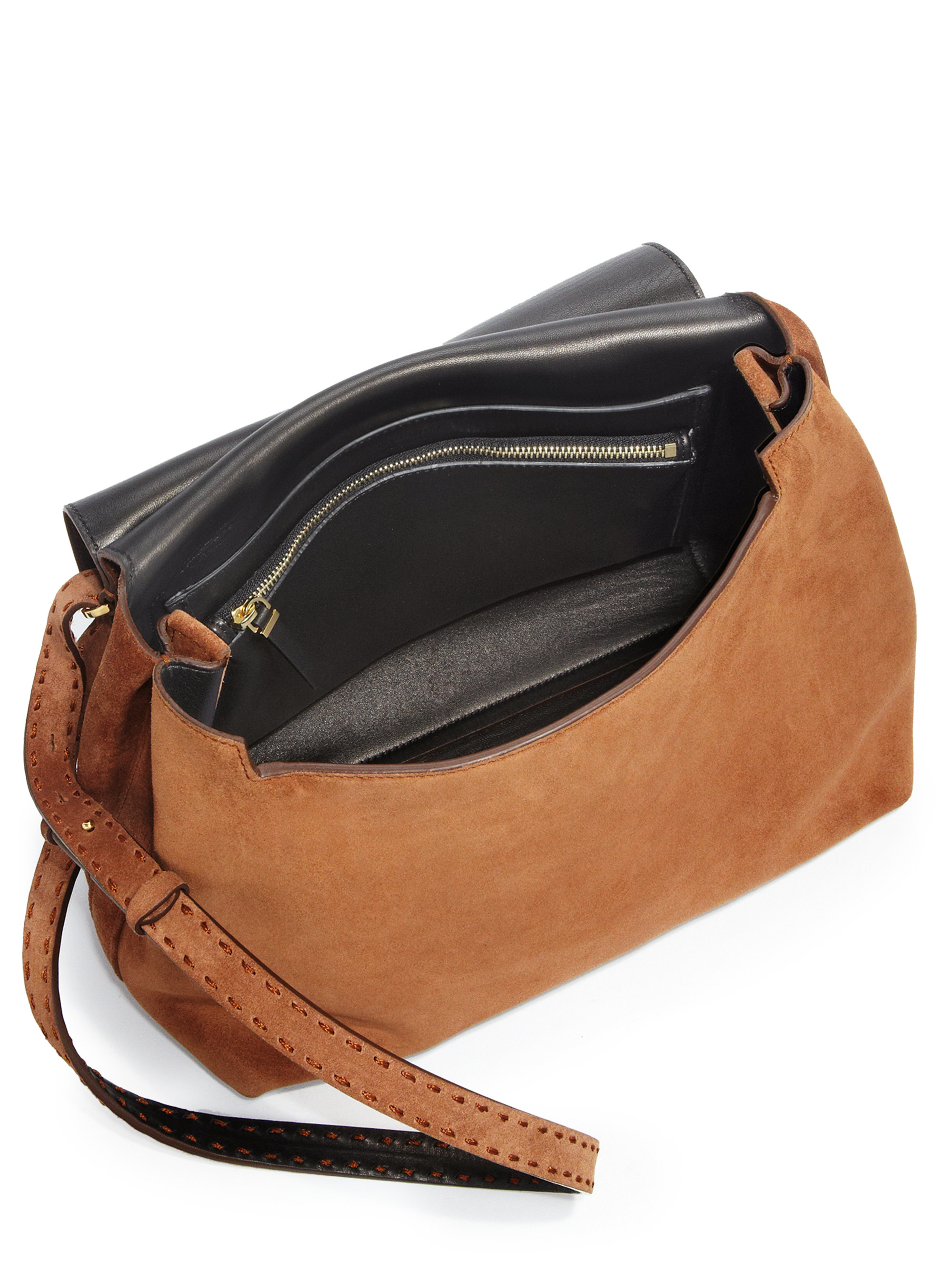 9a96a8c7c8 Lyst - The Row Sideby Suede Crossbody Bag in Brown