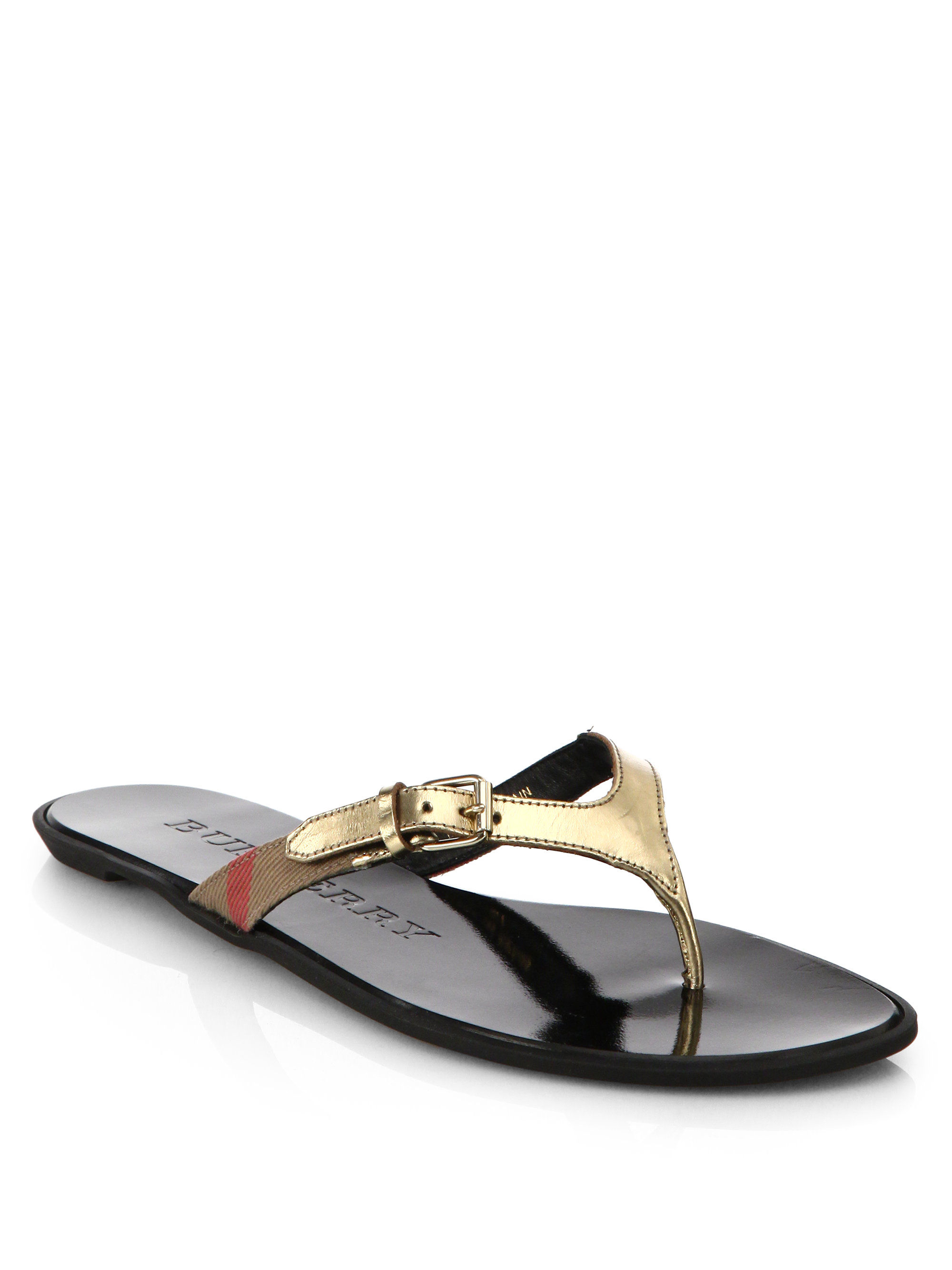 c0df7d244b1c Lyst - Burberry Masie Leather Flip Flops in Metallic for Men