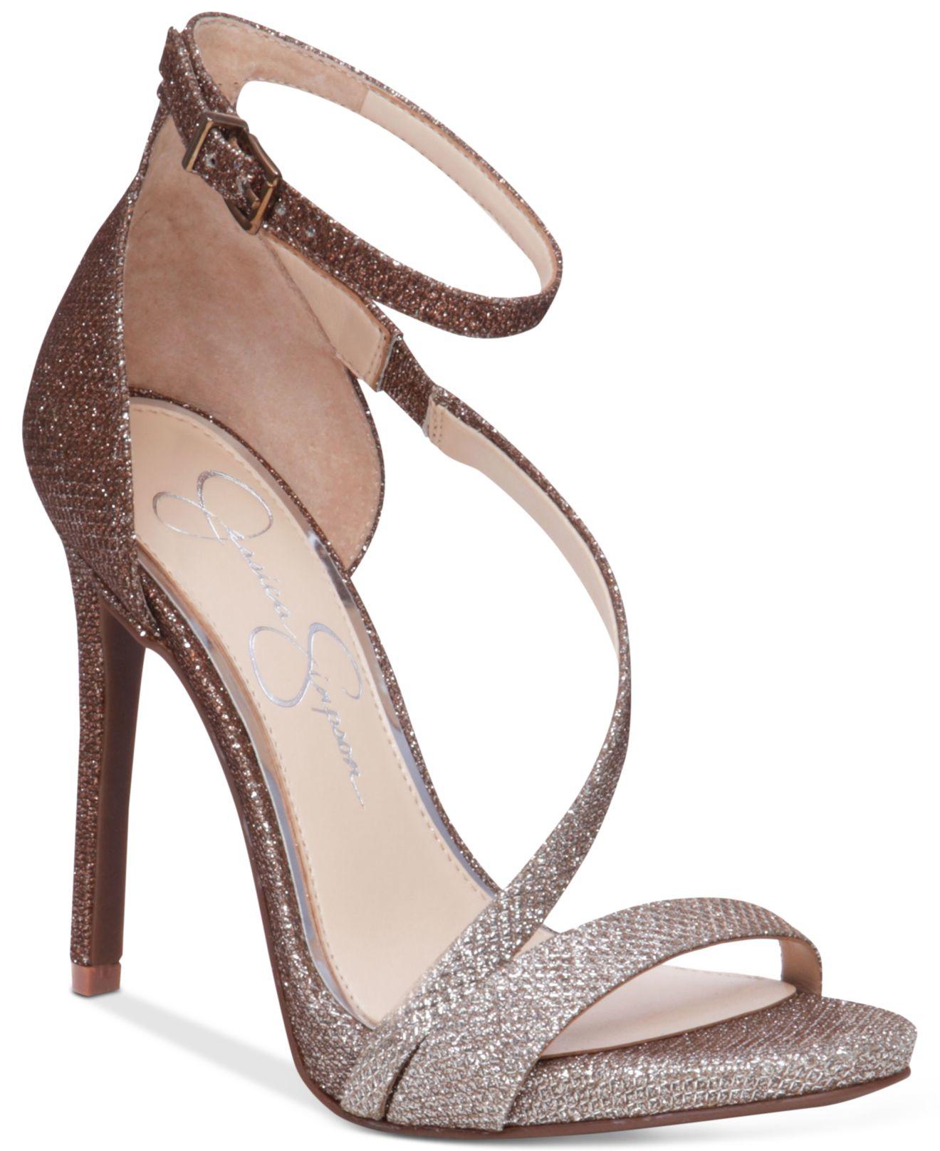 Jessica simpson Rayli Evening Dress Sandals in Metallic | Lyst