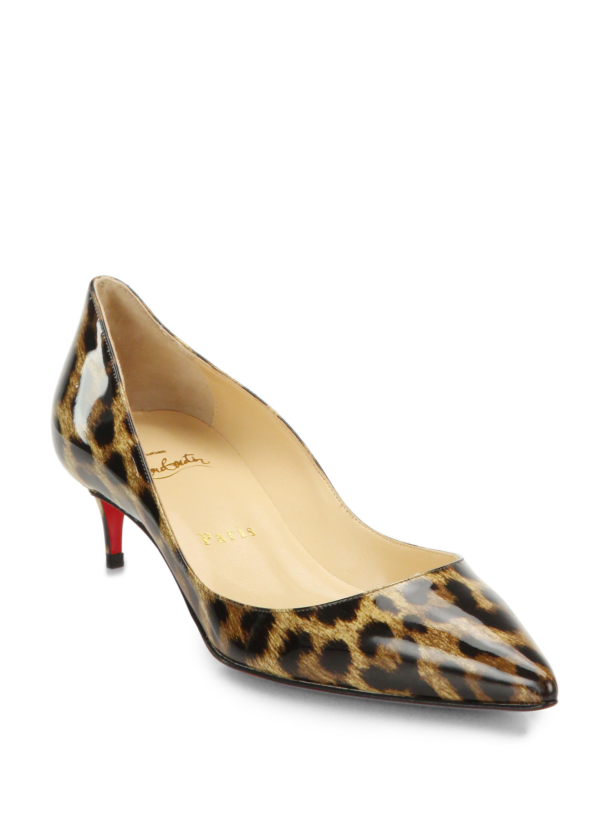 2545831bcf5a Lyst - Christian Louboutin Rocket Leopard Print Patent Leather Point ...