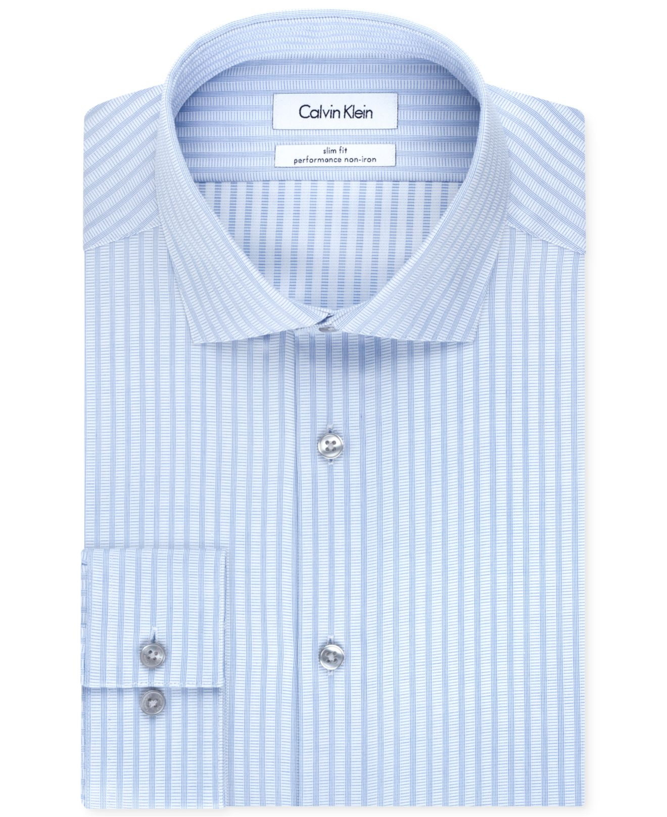 Lyst calvin klein steel non iron slim fit light blue for Calvin klein athletic fit dress shirt