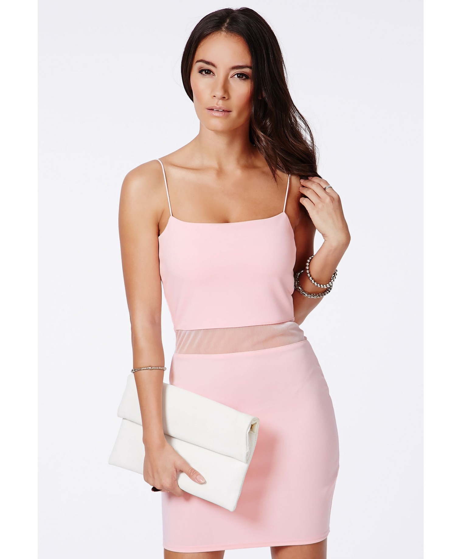 7580a385c470 Missguided Lotye Pink Mesh Panel Bodycon Dress in Pink - Lyst