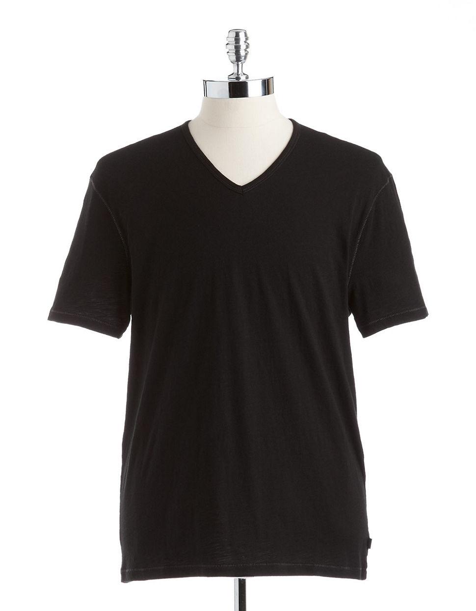 john varvatos cotton v neck t shirt in black for men lyst