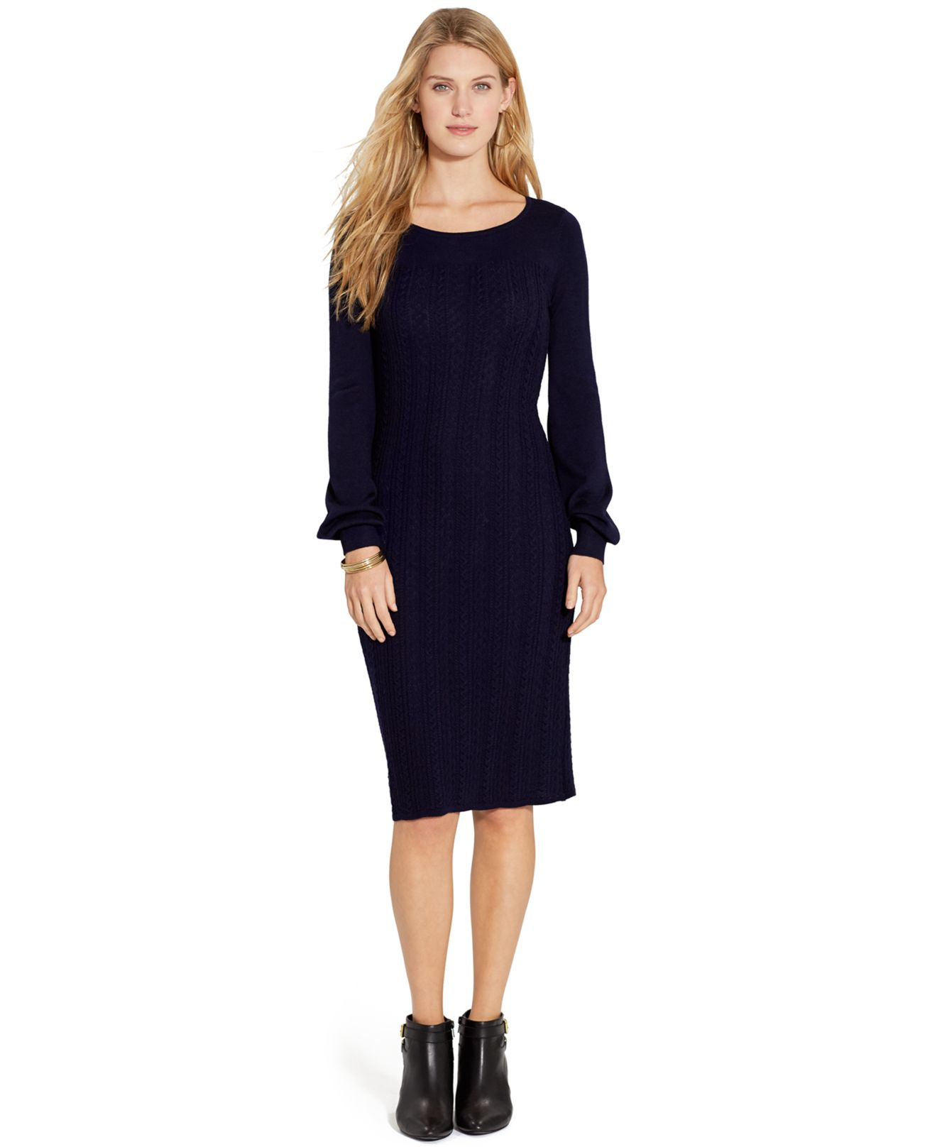 5ab66fbd745 Lyst - Lauren by Ralph Lauren Petite Long-Sleeve Cable-Knit Sweater ...