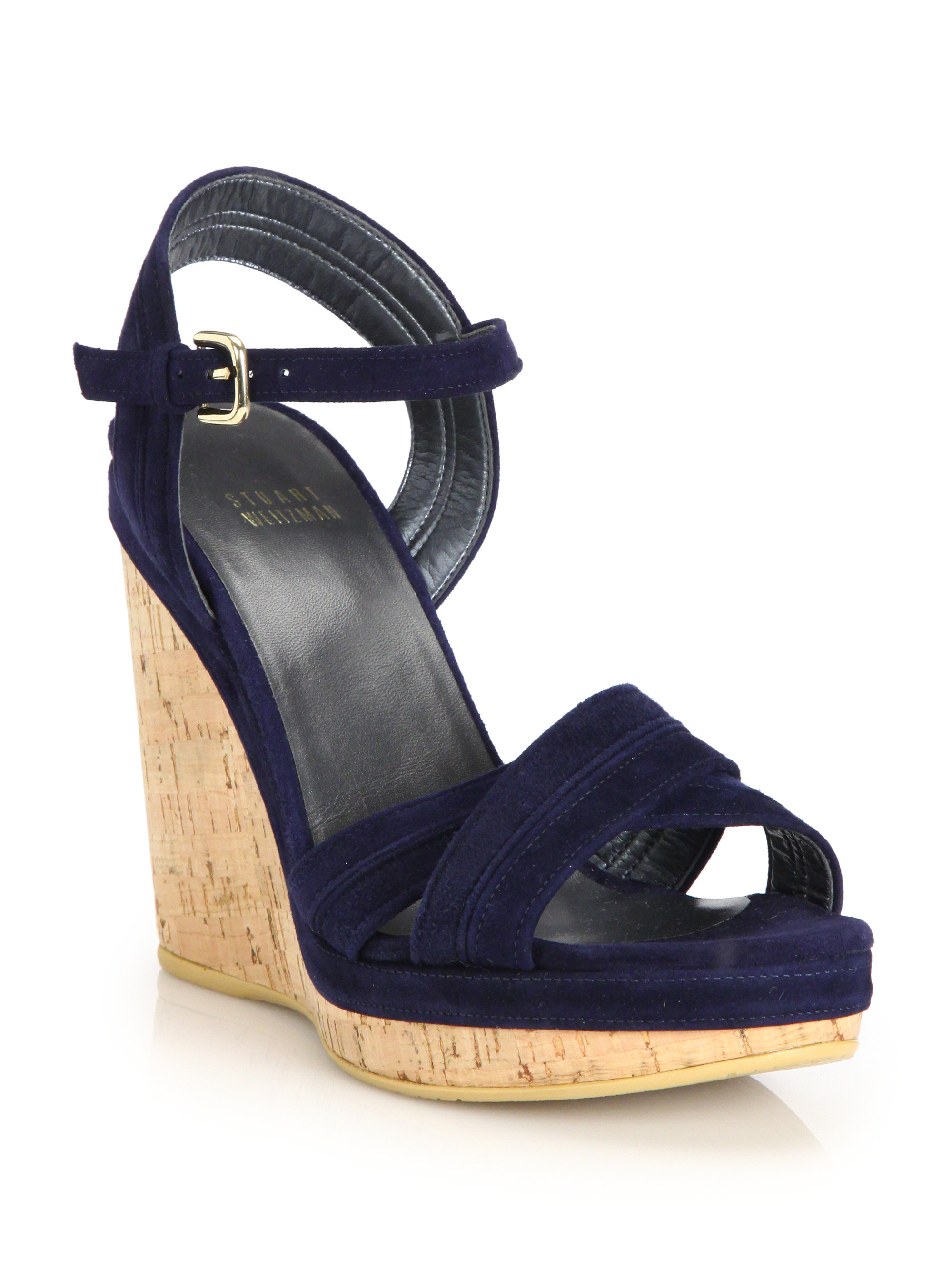 1bceef03e6902 Lyst - Stuart Weitzman Minky Suede Cork Wedge Sandals in Blue