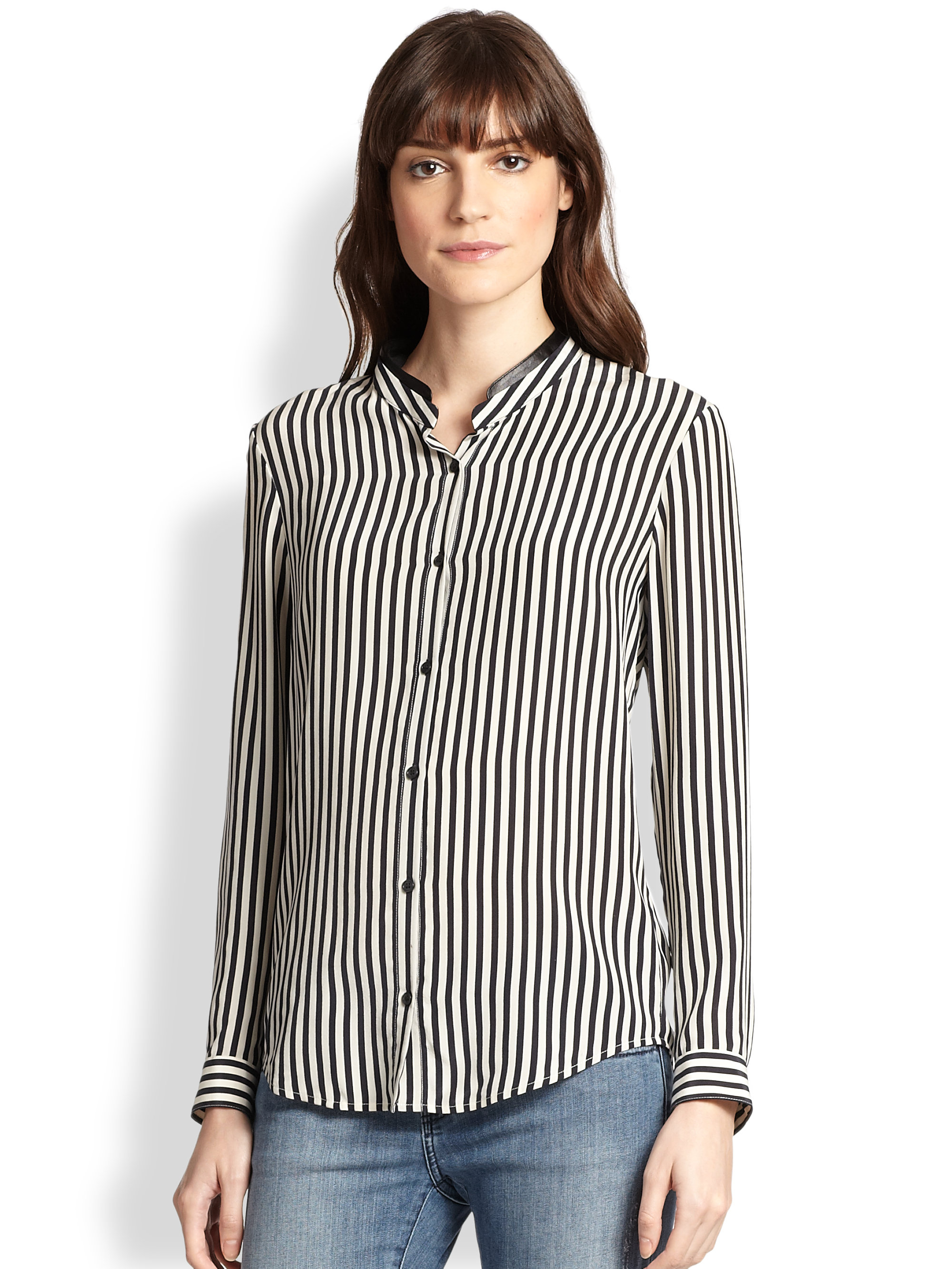 f64497255ead2 Lyst - The Kooples Leather-Collar Striped Silk Blouse in Blue