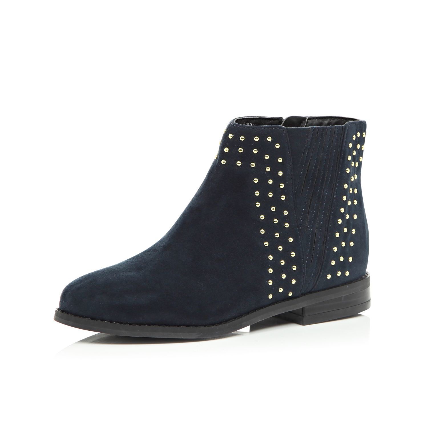 aa37833b1cab River Island Girls Navy Studded Chelsea Boots in Blue - Lyst