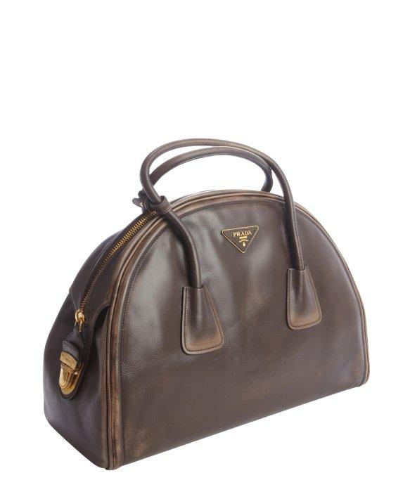 Prada Pre-owned Coffee Distressed Vintage Calfskin Bowler Bag in ...