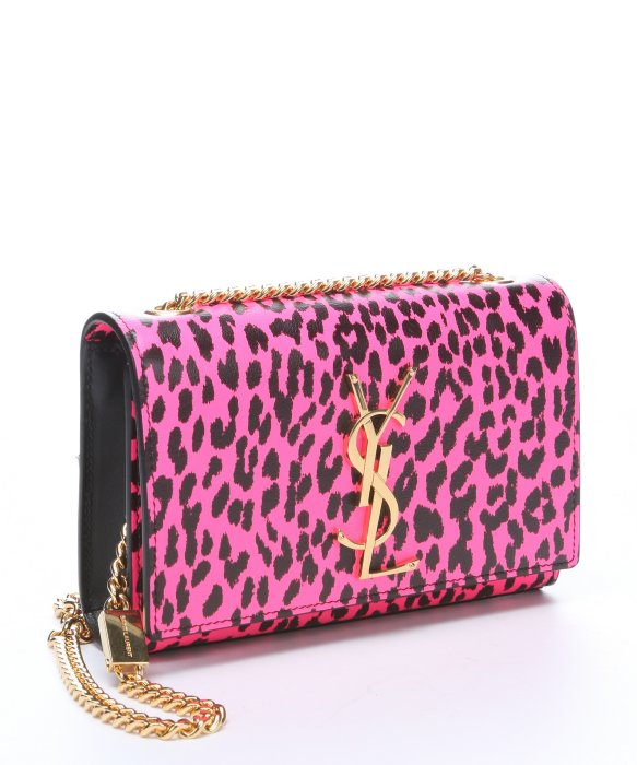 Saint laurent Neon Pink And Black Leopard Print Leather \u0026#39;Ysl ...