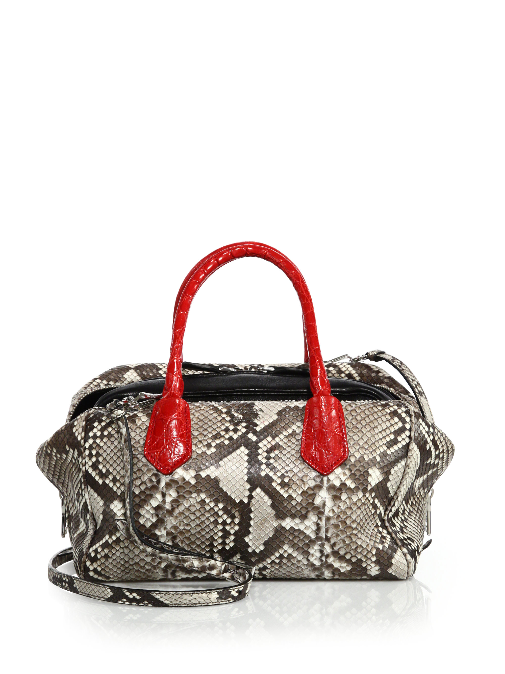 204bcf648eb8b5 Prada Python & Crocodile Inside Bag in Red - Lyst
