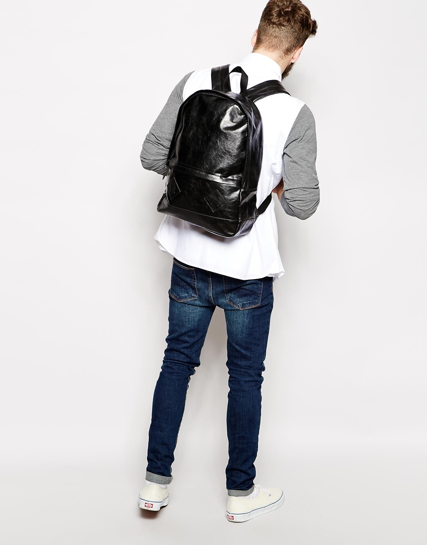 9fa5b548f ASOS Backpack In Black Faux Leather in Black for Men - Lyst