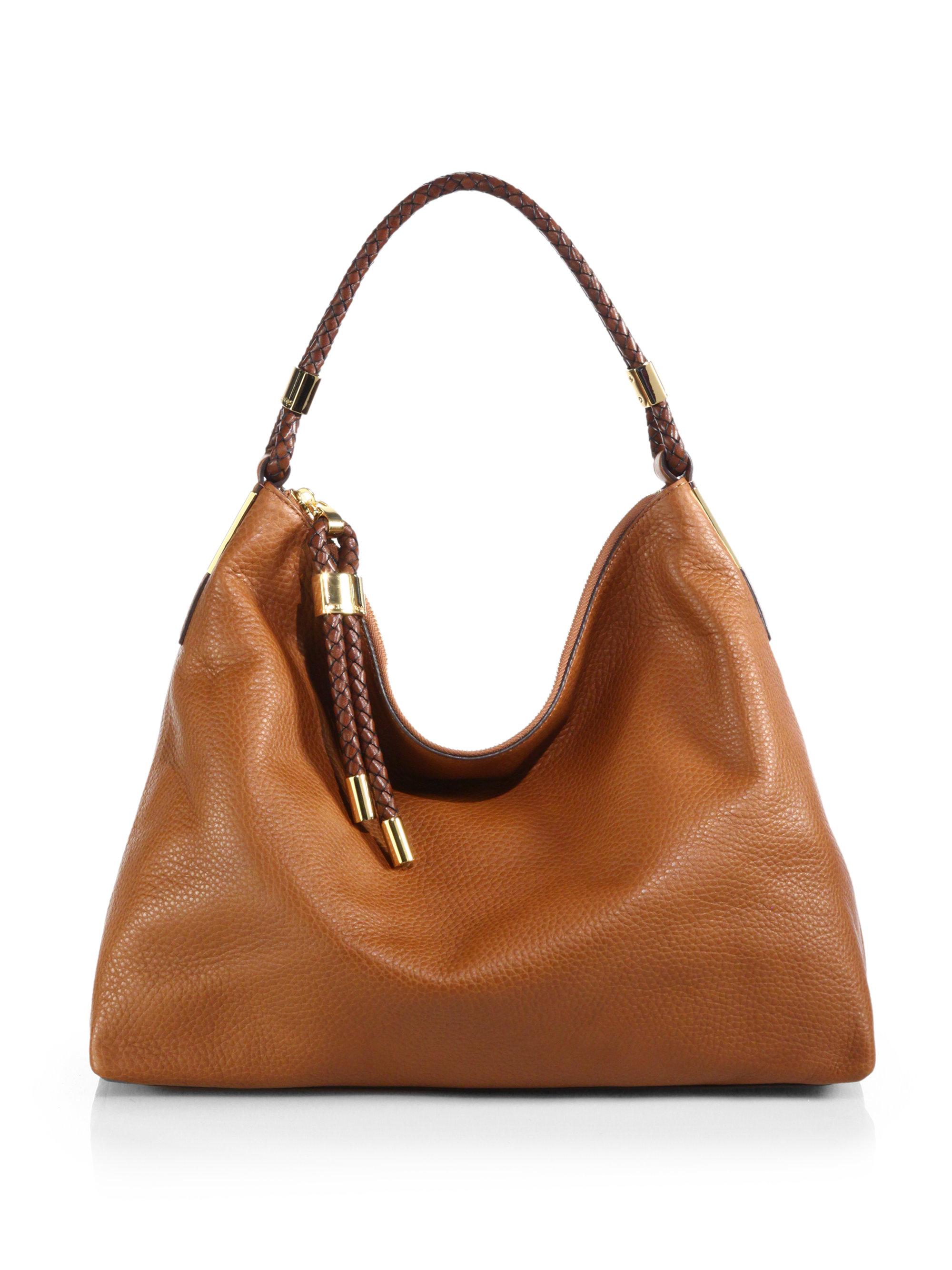 michael kors skorpios medium hobo bag in brown luggage lyst. Black Bedroom Furniture Sets. Home Design Ideas