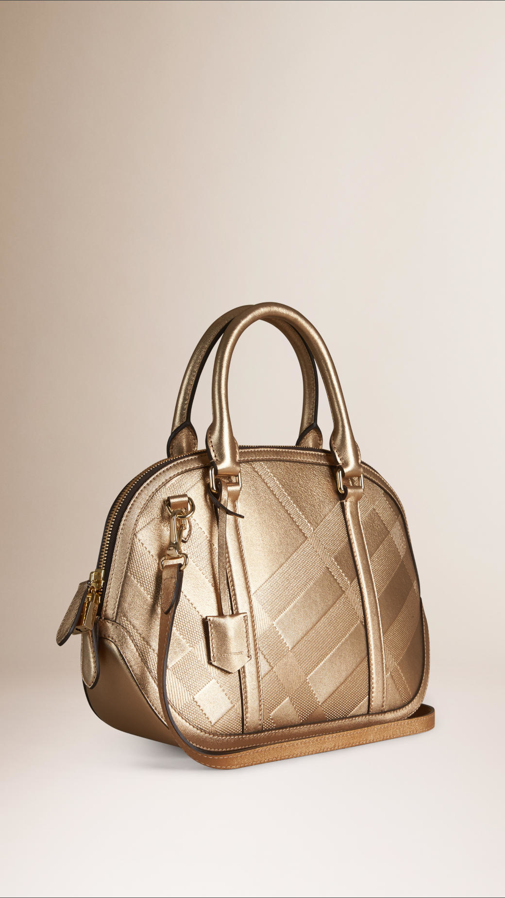 4b554f64aa6e Lyst - Burberry The Small Orchard Embossed Check Leather Bag in Metallic