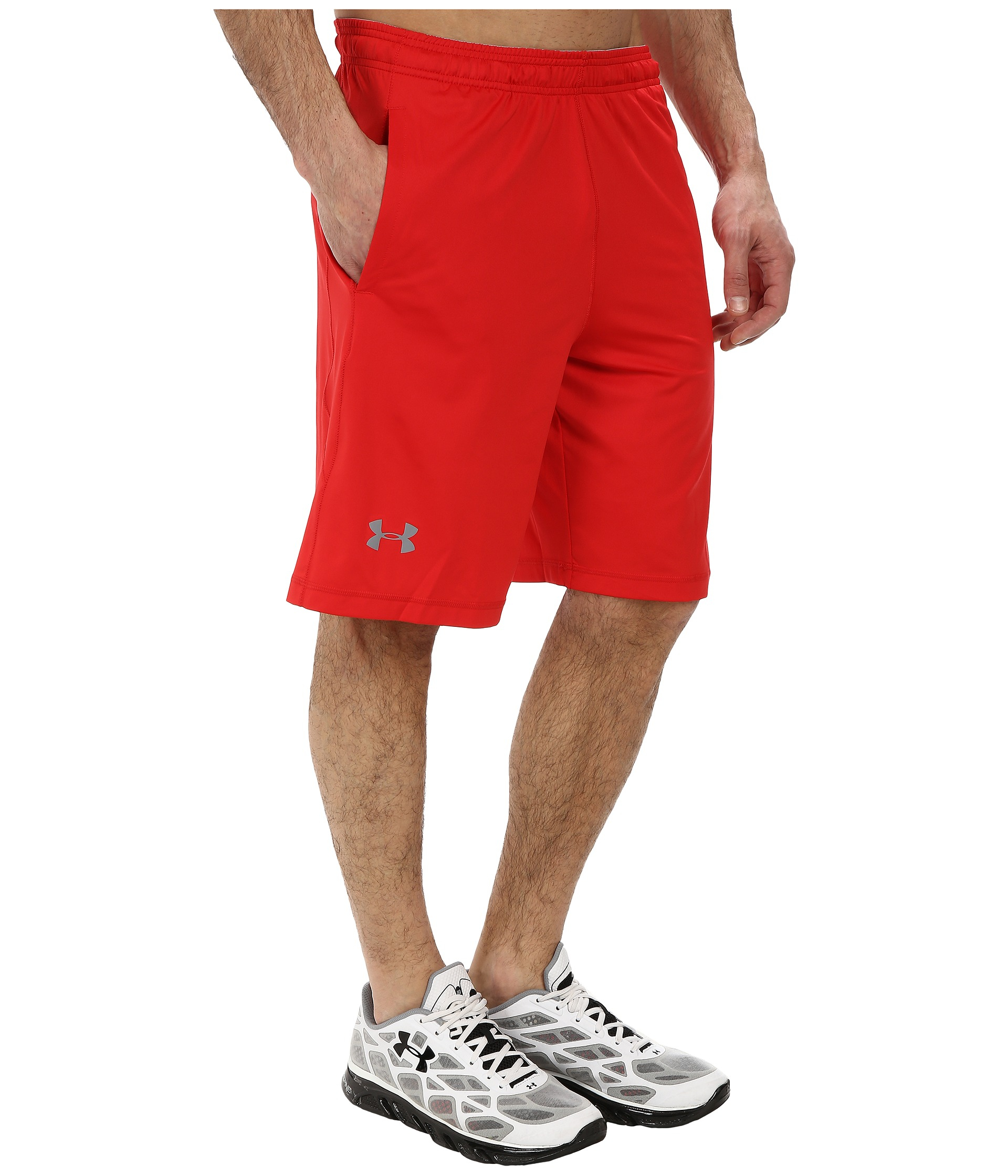 Under armour ua raid short in red red steel lyst for Thrilla in manila shirt under armour