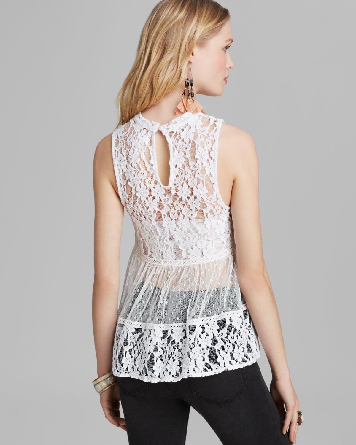 f980ac56347684 Lyst - Free People Tank Ladybird Lace in White