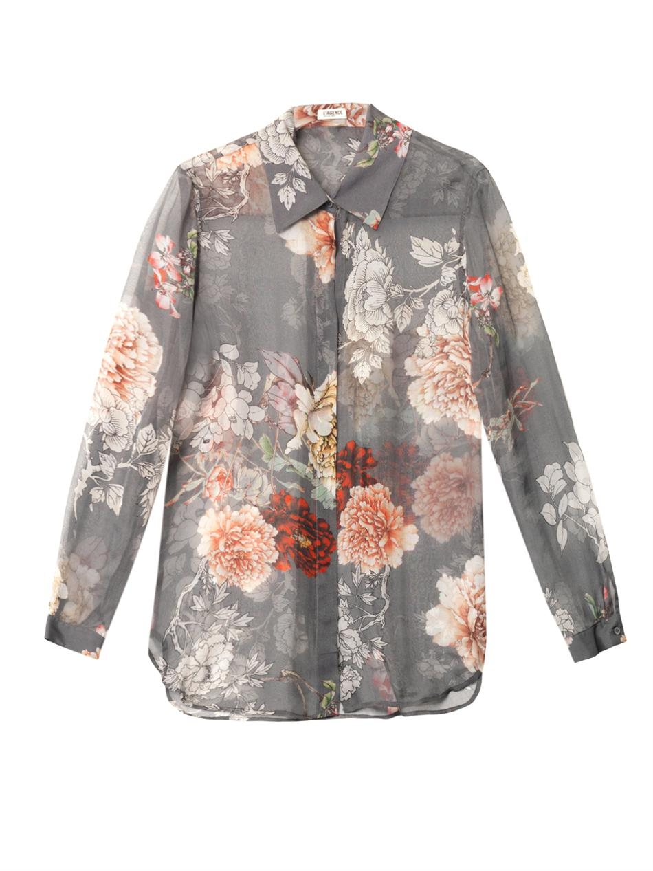 ded9038957a67a L'Agence Peony Floral Print Sheer Silk Shirt - Lyst