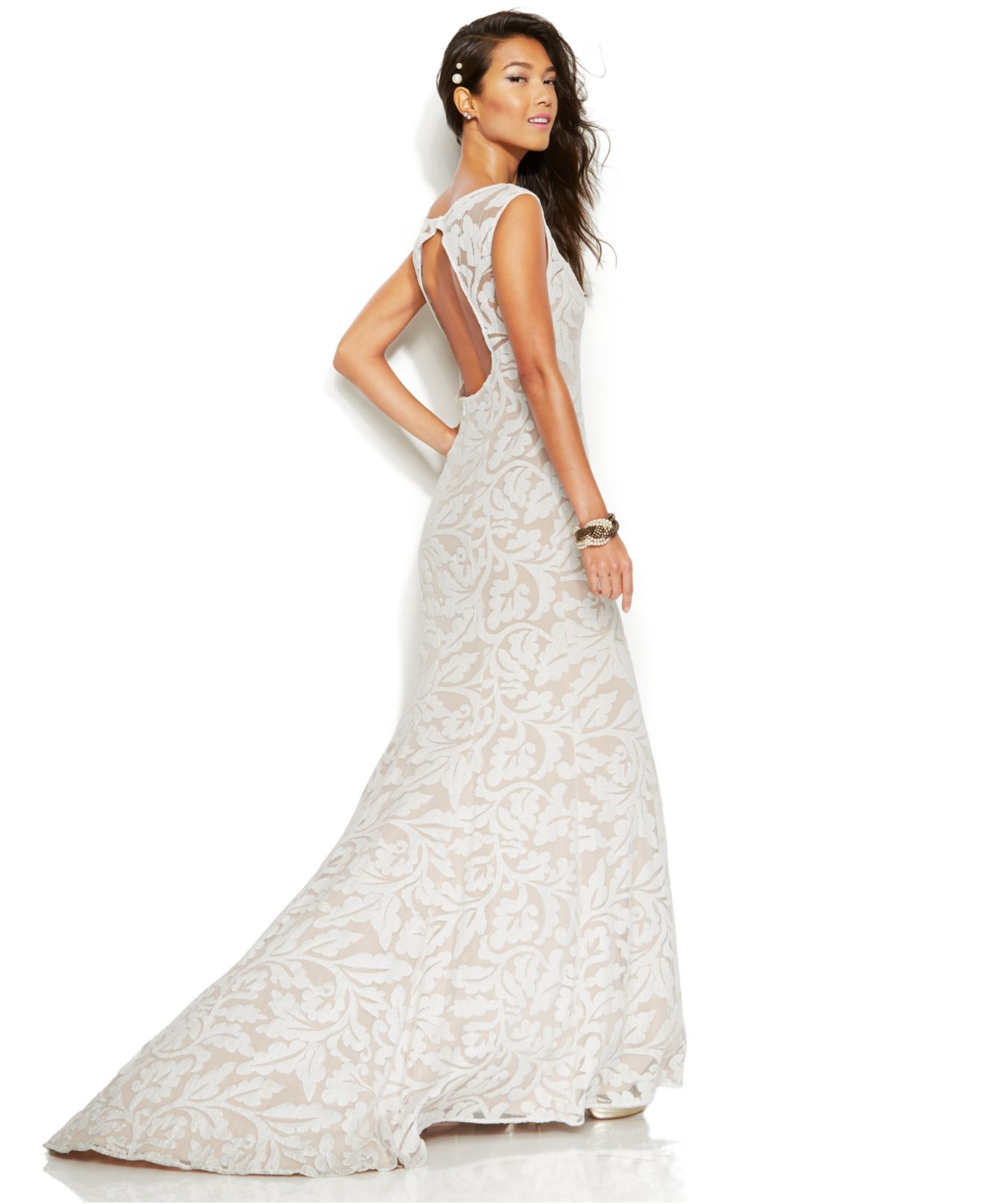 Lyst - Adrianna Papell Sleeveless Embroidered Lace Mermaid Gown in White