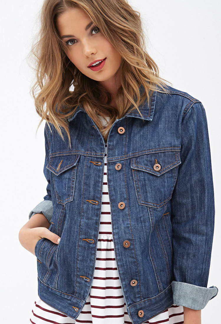 Forever 21 Classic Denim Jacket in Blue | Lyst