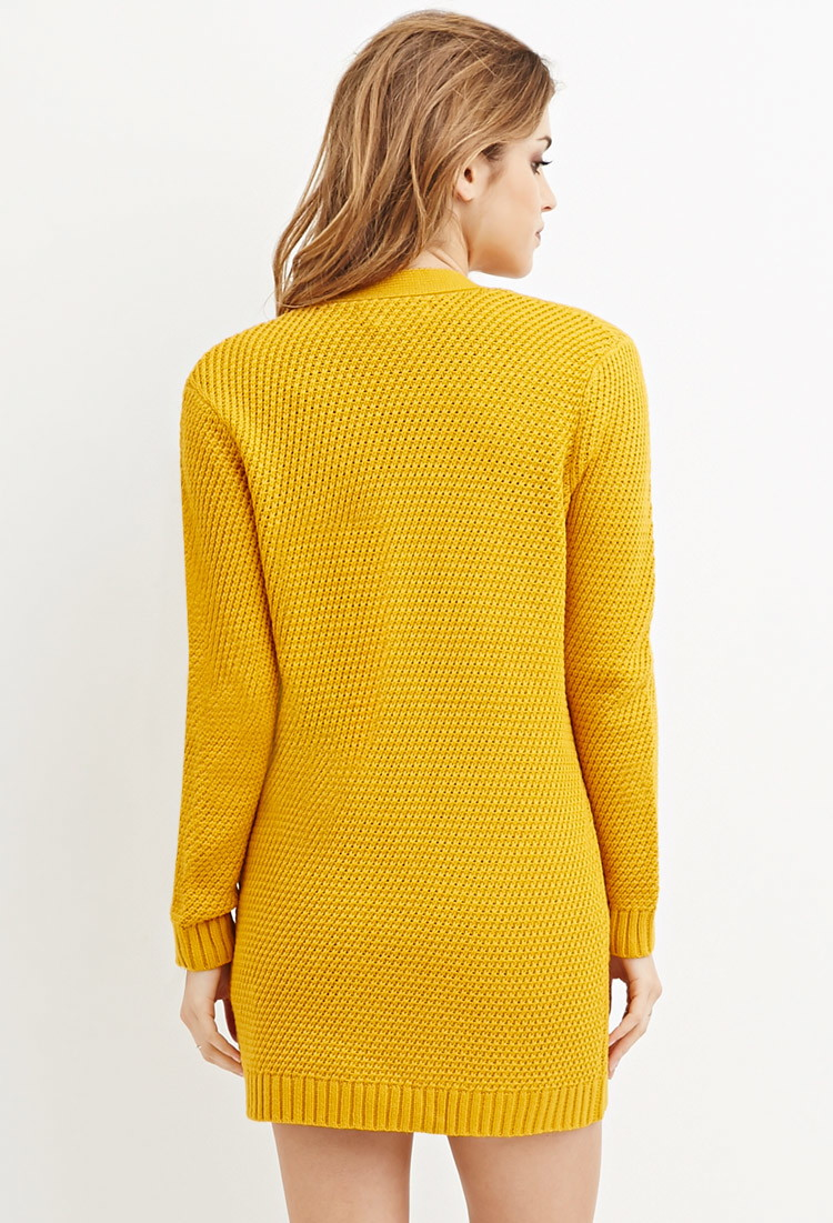 Forever 21 Waffle Knit Cardigan in Yellow   Lyst