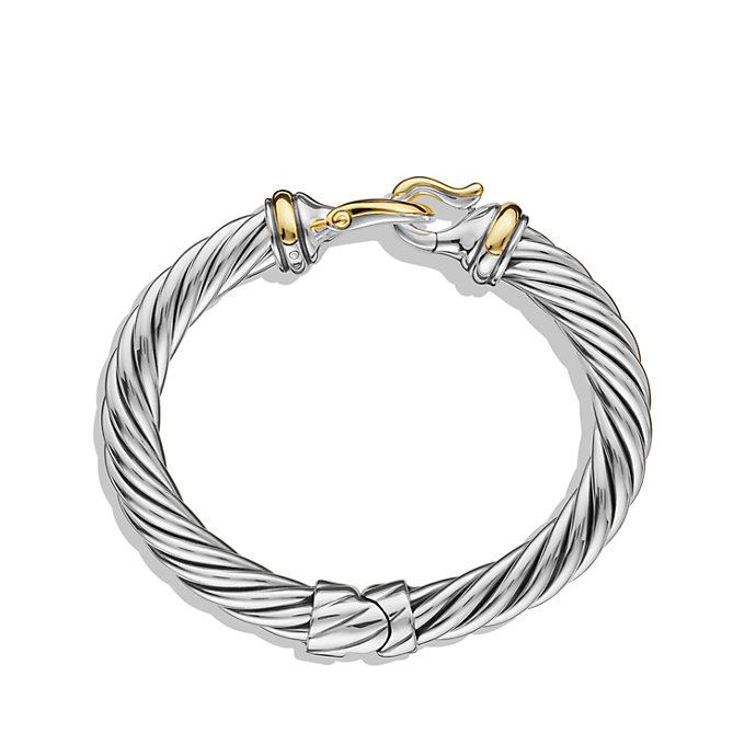 David Yurman Buckle Cable Bracelet With Gold In Metallic