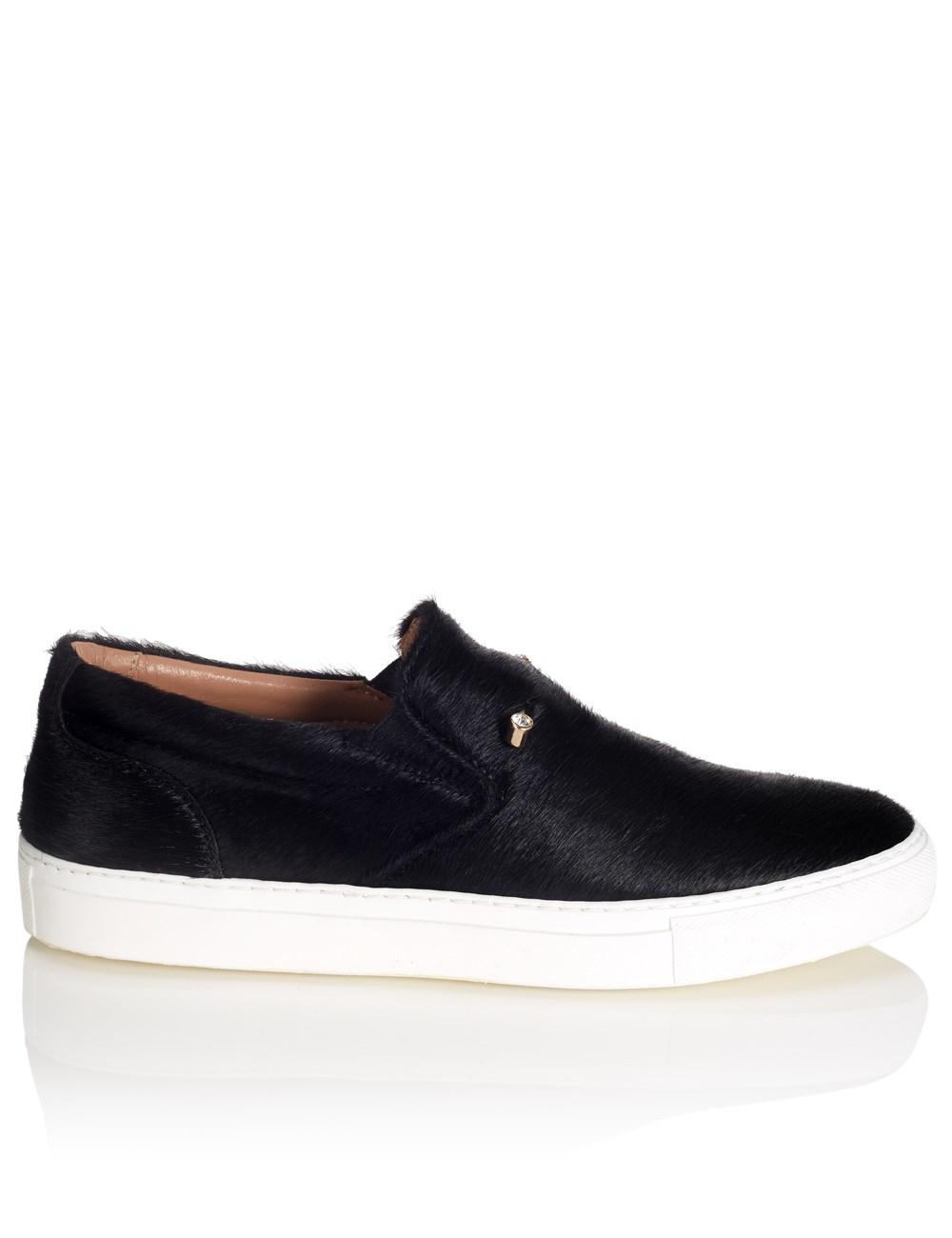 coliac black pony hair sneakers in black lyst