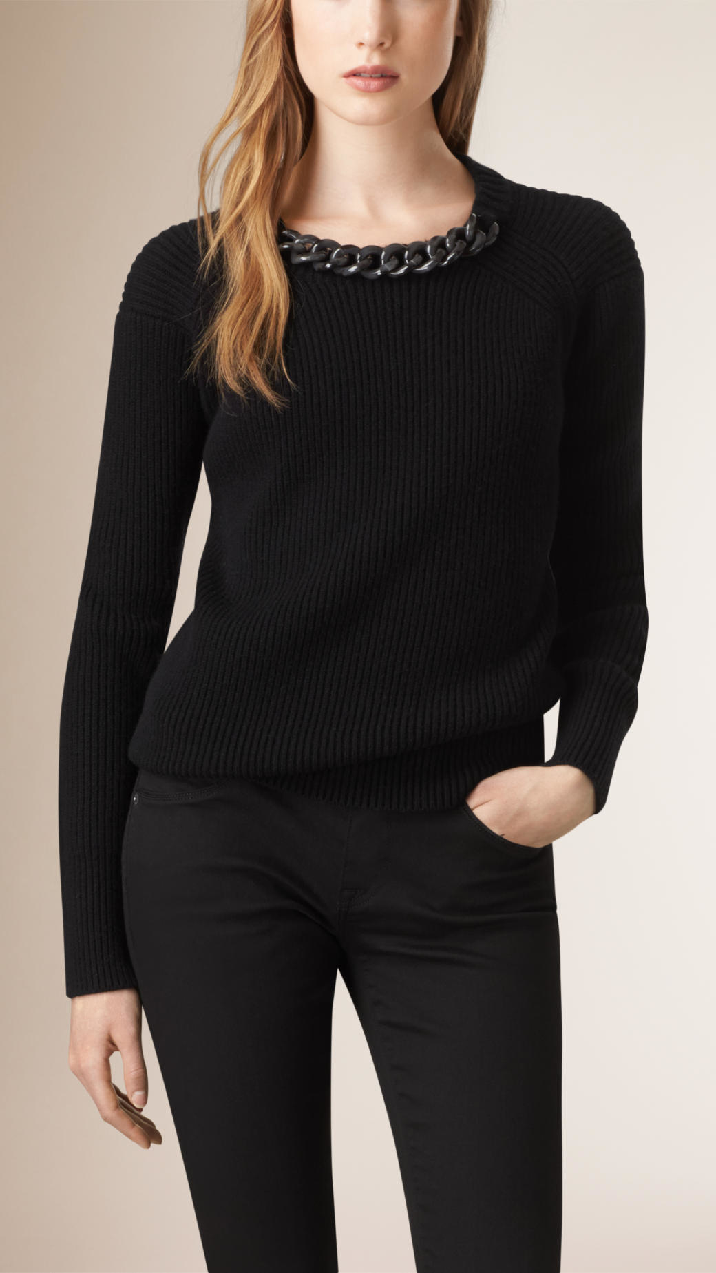 Wool Sweater Grey: Burberry Chain Detail Wool Cashmere Sweater In Black
