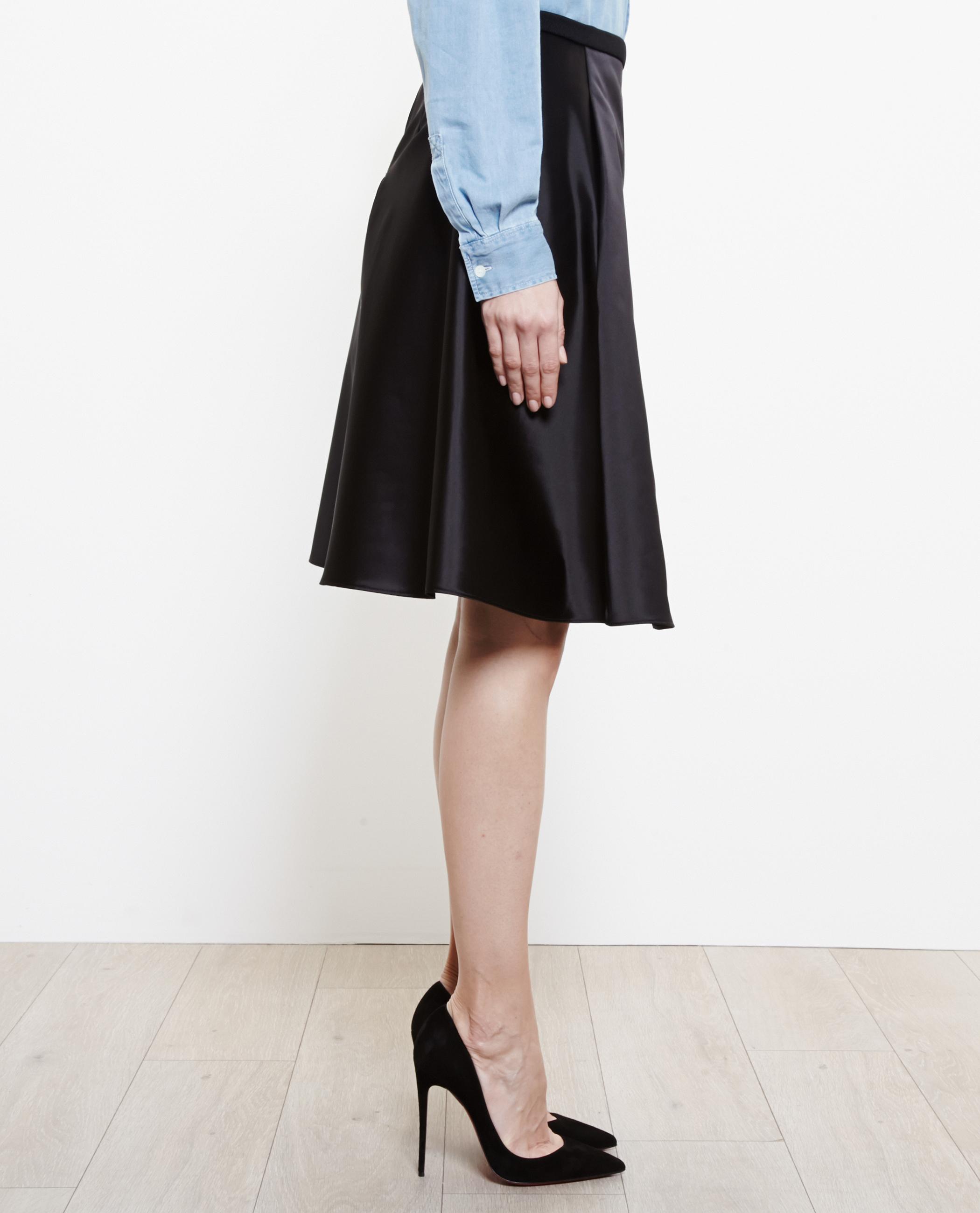 acne studios keals satin midi skirt in black lyst