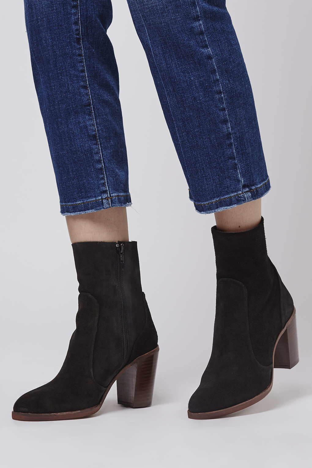topshop magnificent suede sock boots in black lyst