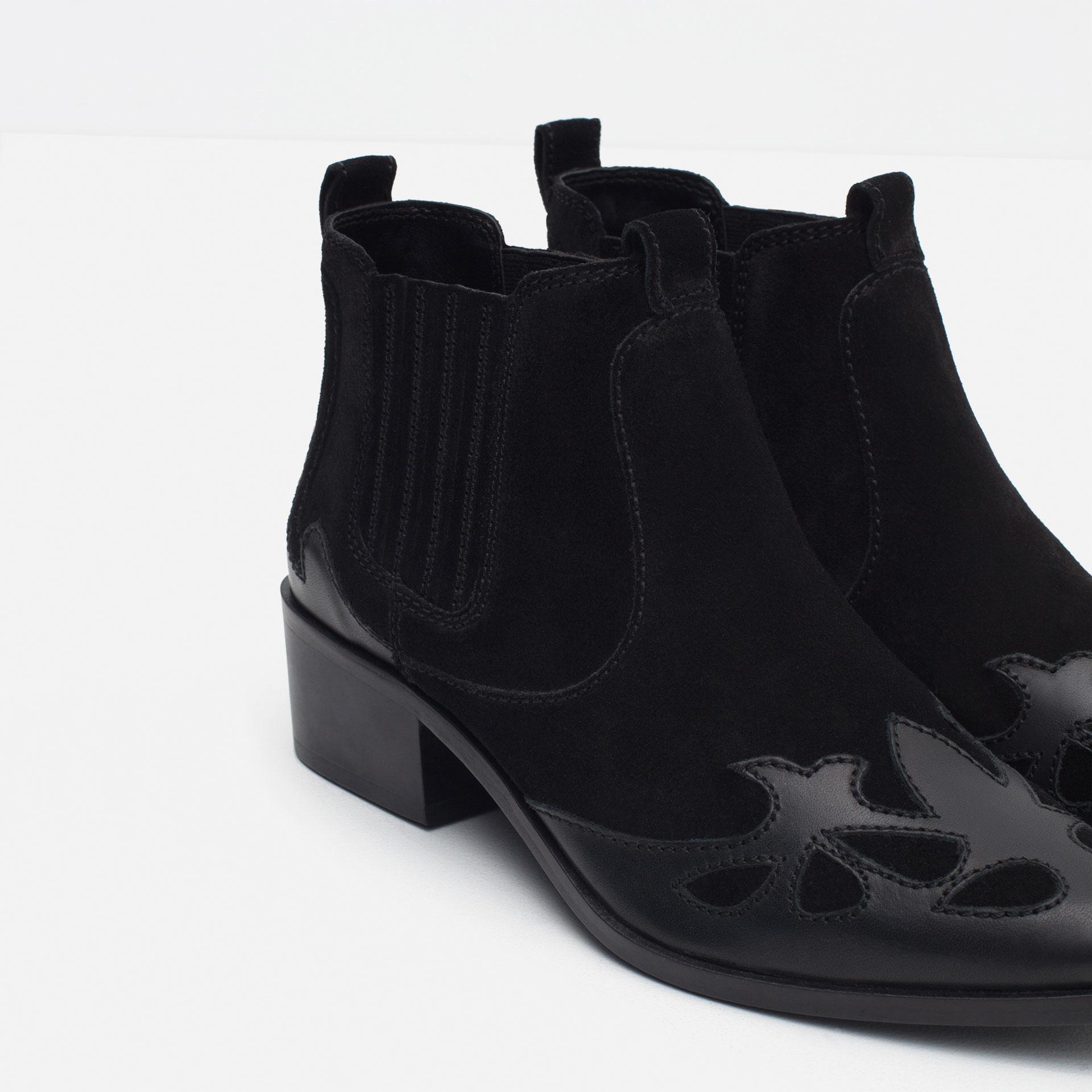 zara block heel leather cowboy ankle boots in black lyst