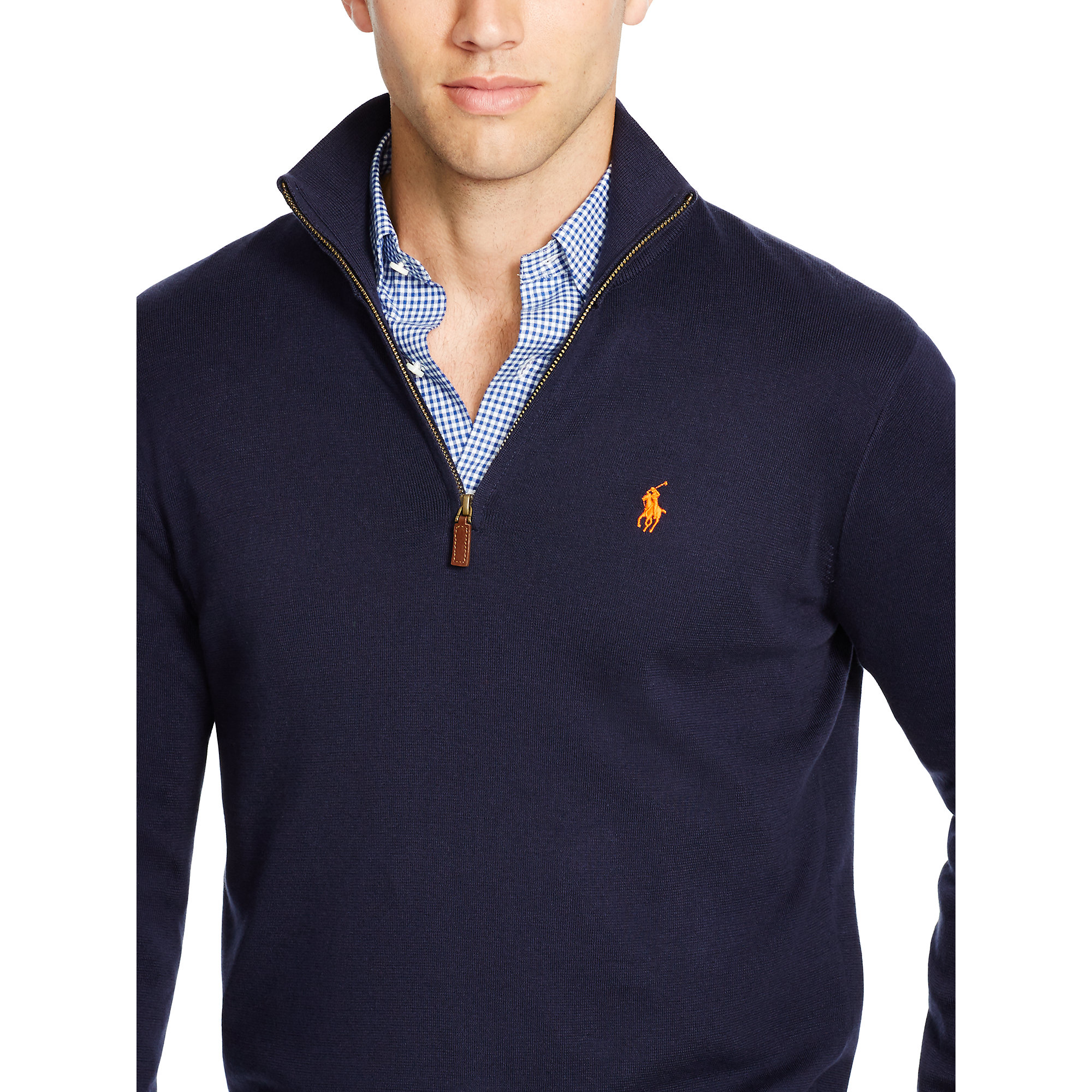 e442d6ef7 Polo Ralph Lauren Pima Cotton Half-zip Sweater in Blue for Men - Lyst
