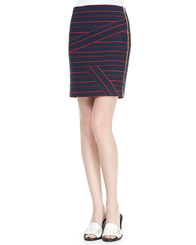 band of outsiders stripe suspender skirt in blue blue