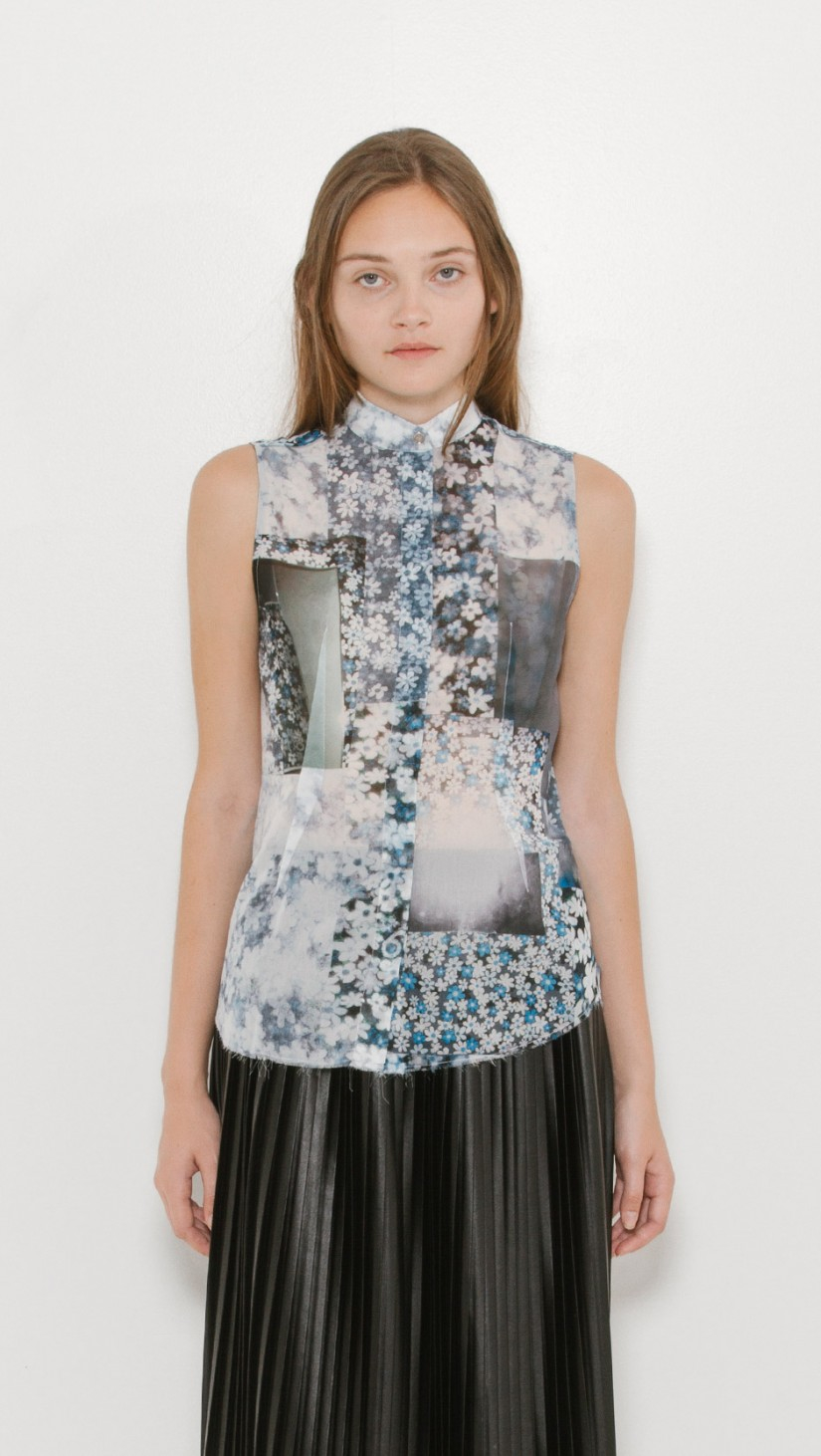 Lyst mm6 by maison martin margiela sleeveless floral shirt for Mm6 maison margiela