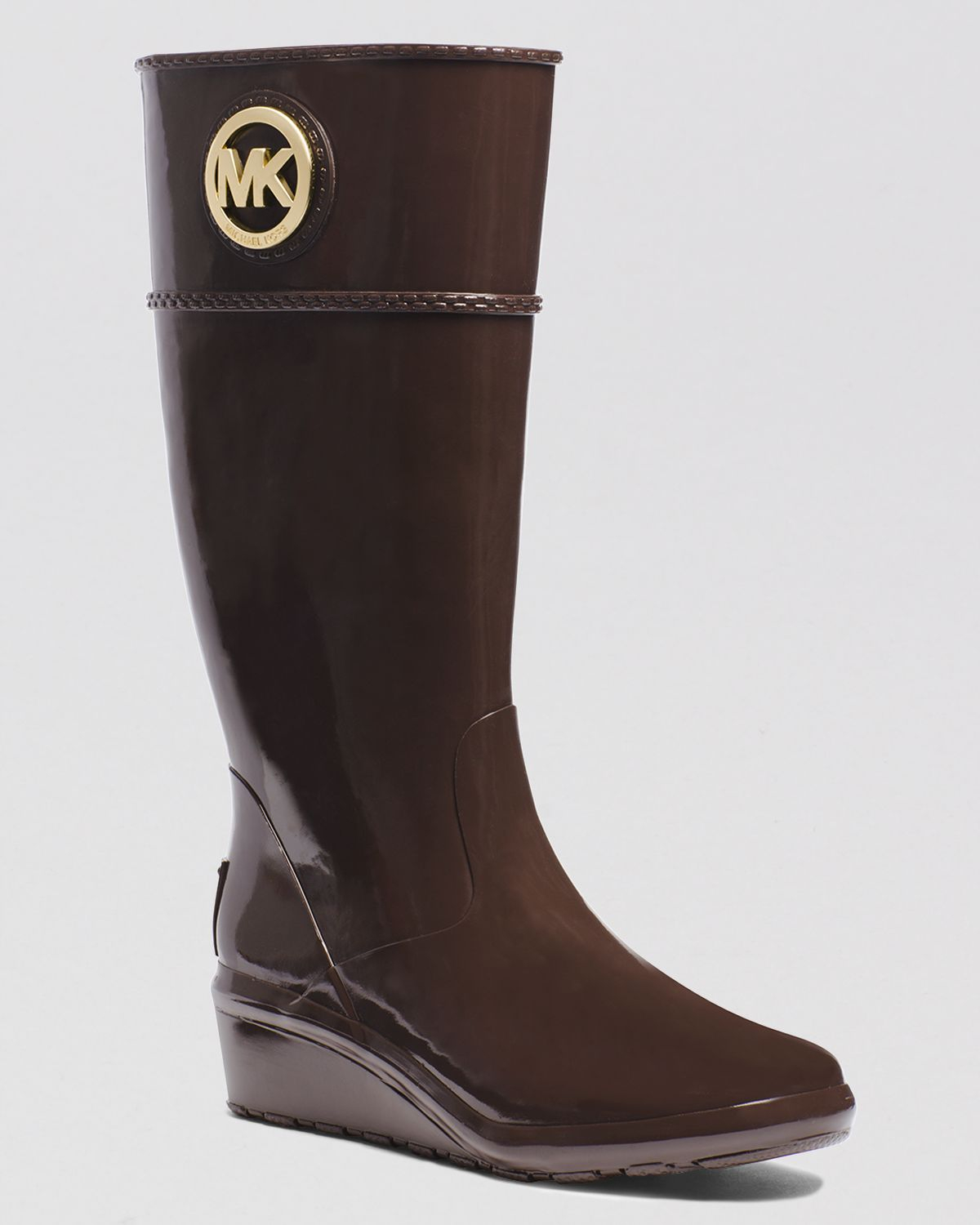 Michael Michael Kors Wedge Rain Boots - Stockard In Brown | Lyst