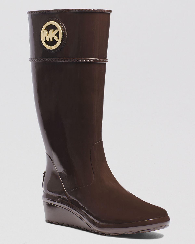 michael michael kors wedge rain boots stockard in brown lyst. Black Bedroom Furniture Sets. Home Design Ideas