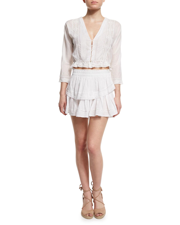 73fa73090 LoveShackFancy Tiered Ruffled Miniskirt in White - Lyst