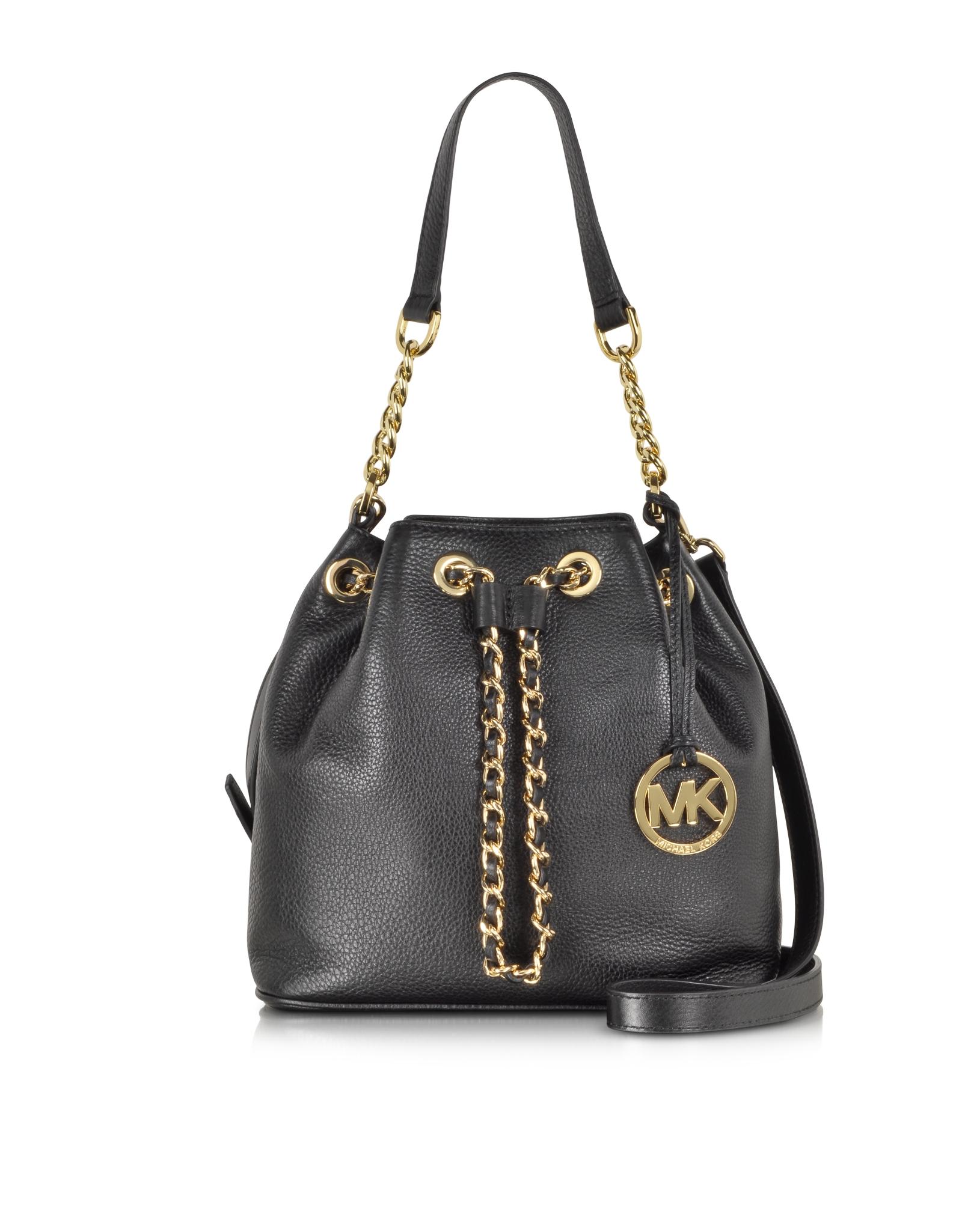 e47a47fc024e Michael Kors Frankie Black Leather Medium Messenger in Black - Lyst
