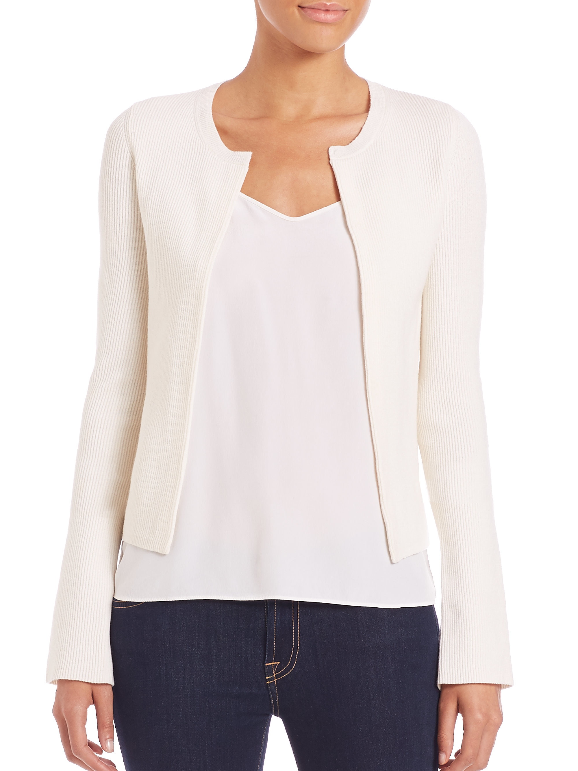 Theory Kilna Evian Stretch Wool Cardigan in White | Lyst