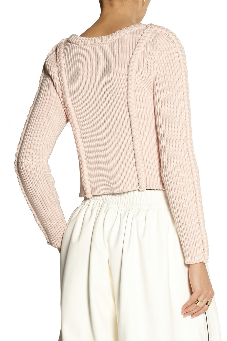 Adam lippes Cropped Chunky-Knit Cotton-Blend Sweater in Natural | Lyst