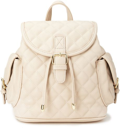 Forever 21 Quilted Faux Leather Backpack in Beige (Taupe)